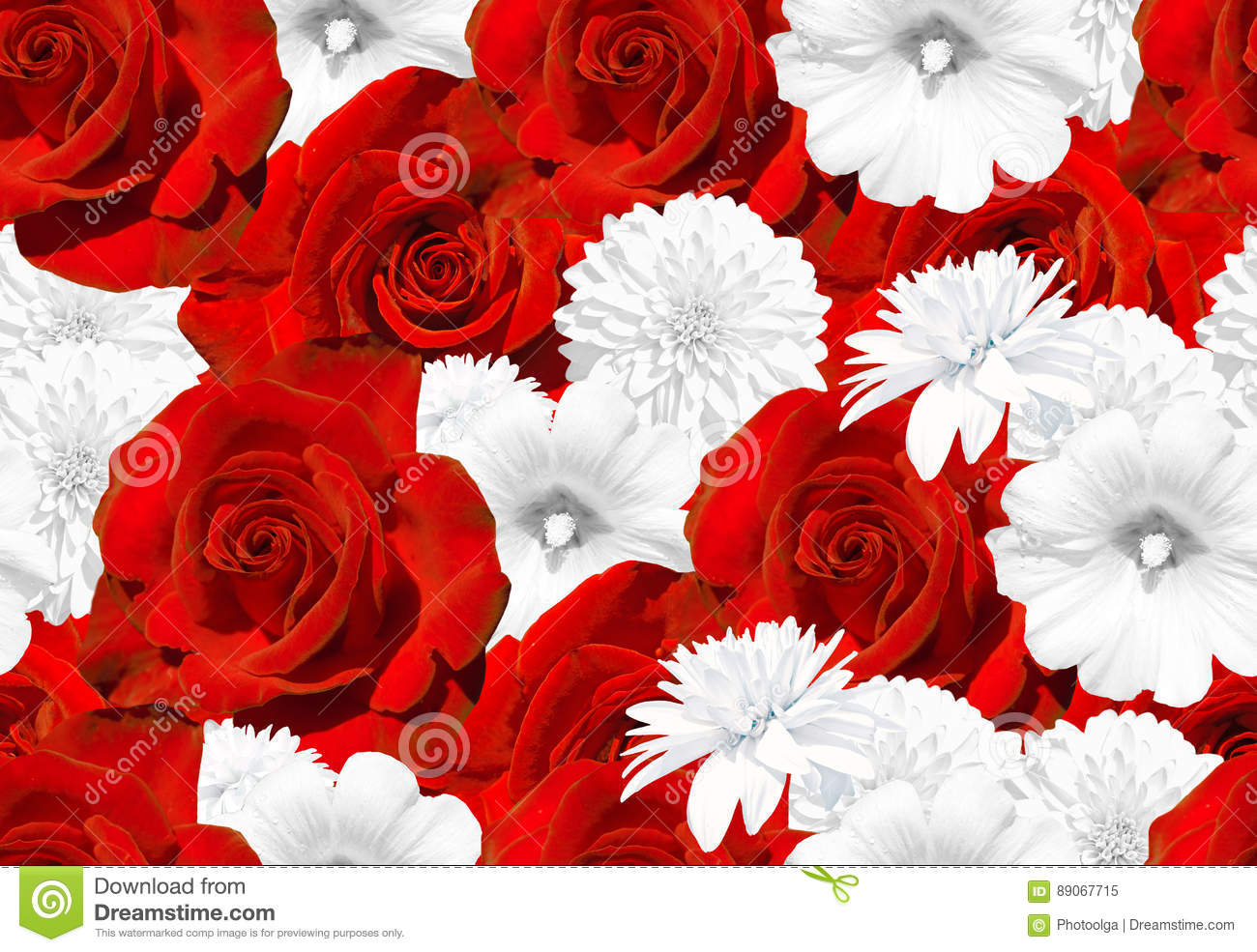 Seamless Flower Texture Red Roses And White Flowers Rose Mallow