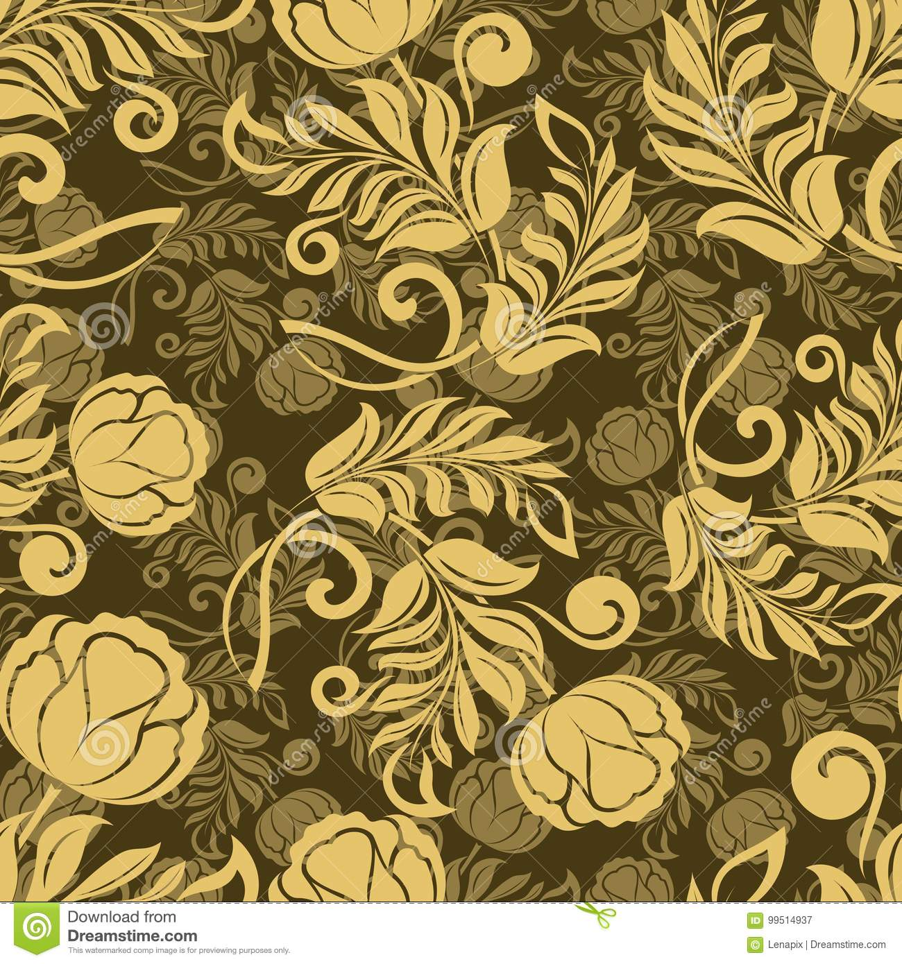 Seamless Flower Wallpaper Stock Vector Illustration Of Repeated
