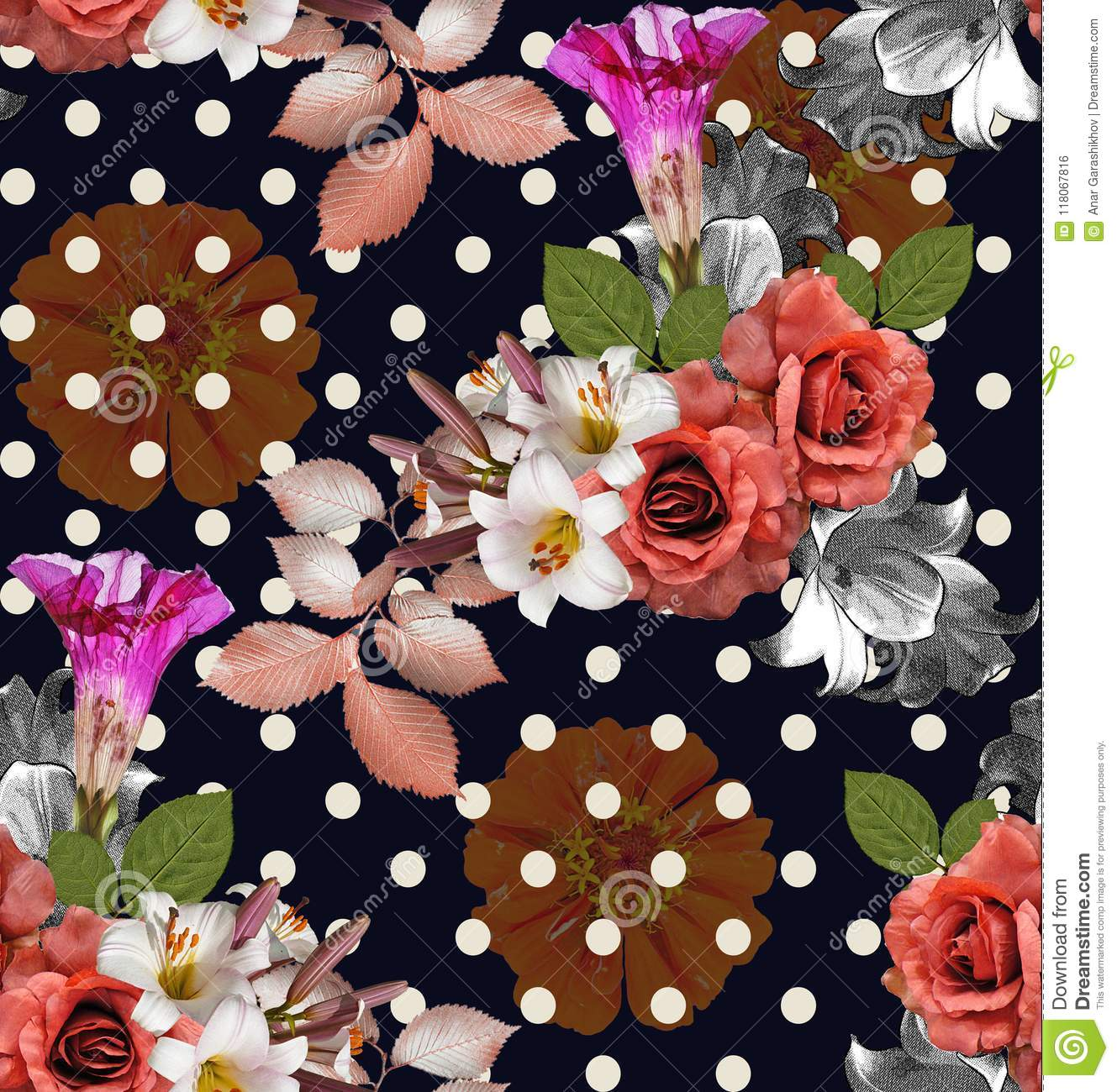 Seamless flowers with polka dot roses with lily and zinnia on n seamless flowers with polka dot roses with lily and zinnia on n izmirmasajfo