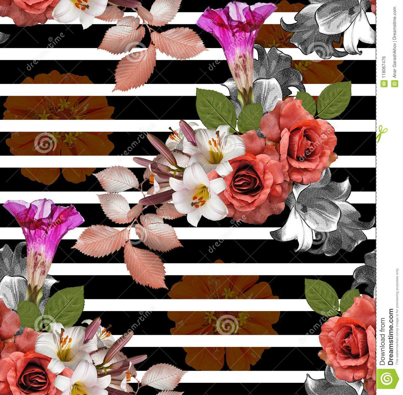 Seamless flowers with striped roses with lily and zinnia on bla seamless flowers with striped roses with lily and zinnia on bla izmirmasajfo
