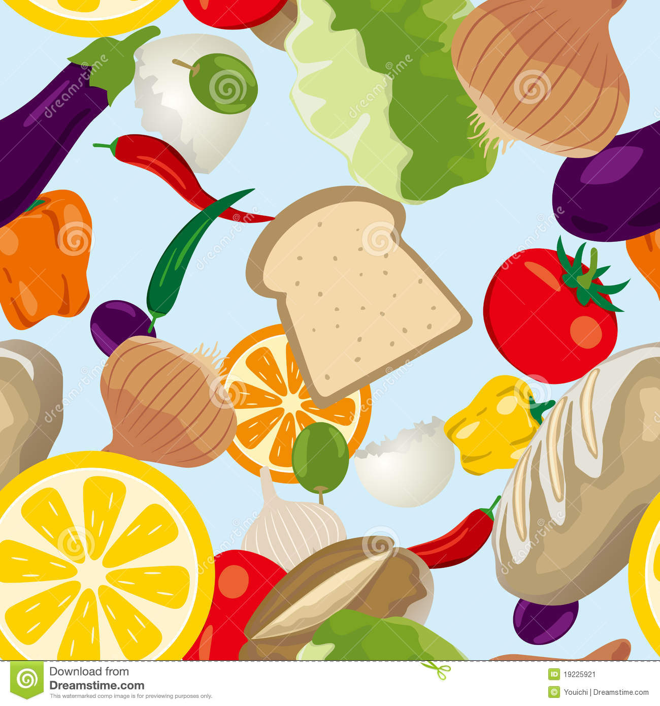 Seamless Food Pattern Stock Vector Illustration Of Juicy 19225921