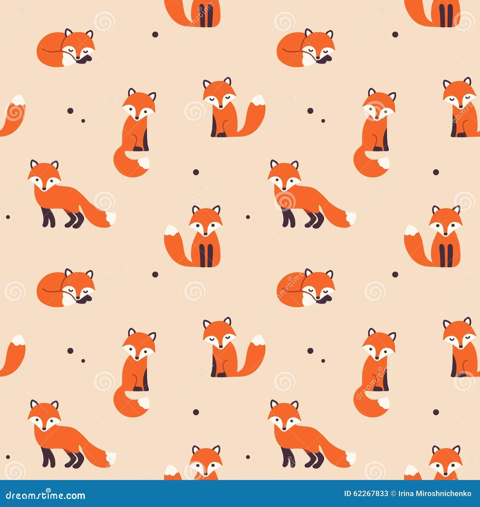 Seamless Fox Pattern Stock Vector - Image: 62267833