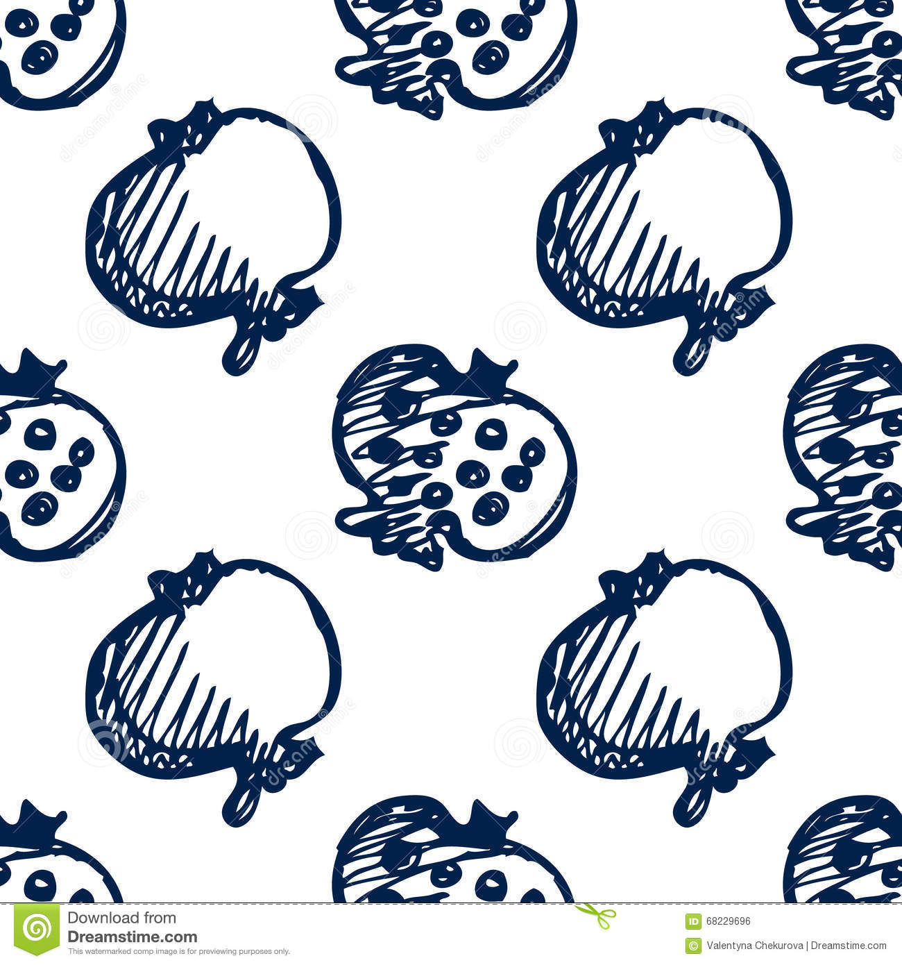 Sketch with pomegranates stock photography 69770108 - Grenade fruit dessin ...