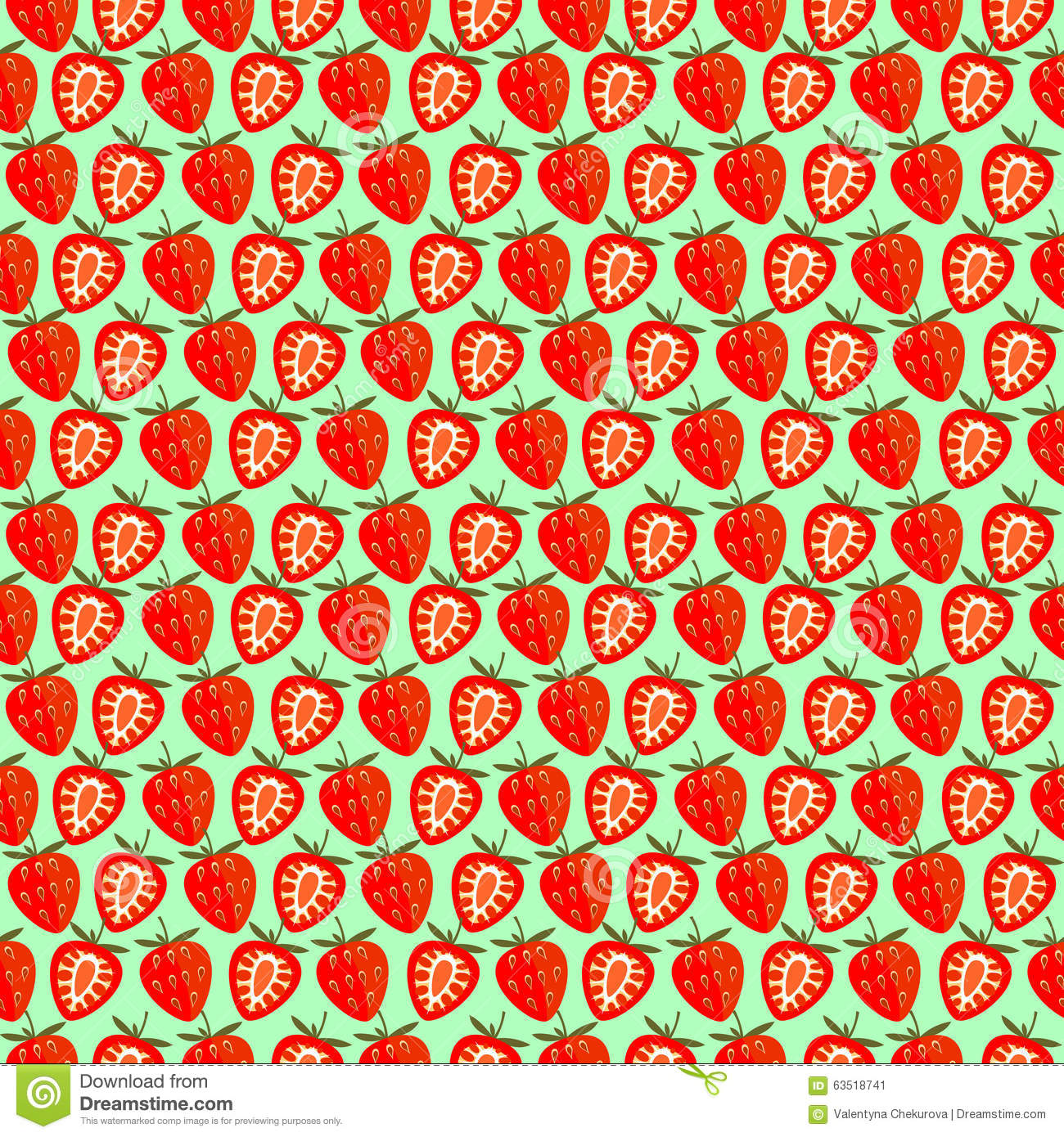 Seamless Fruits Vector Pattern, Bright Color Symmetrical Background ...