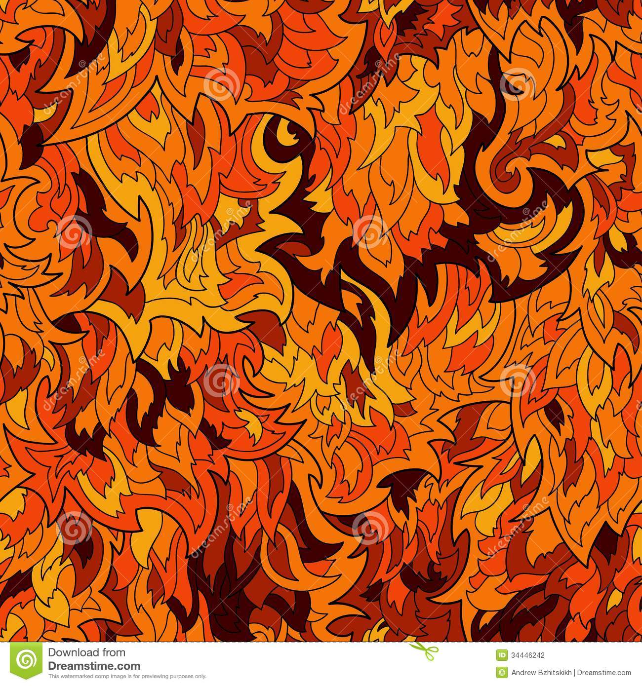 Seamless Fur Or Flame Pattern Background Stock Photography