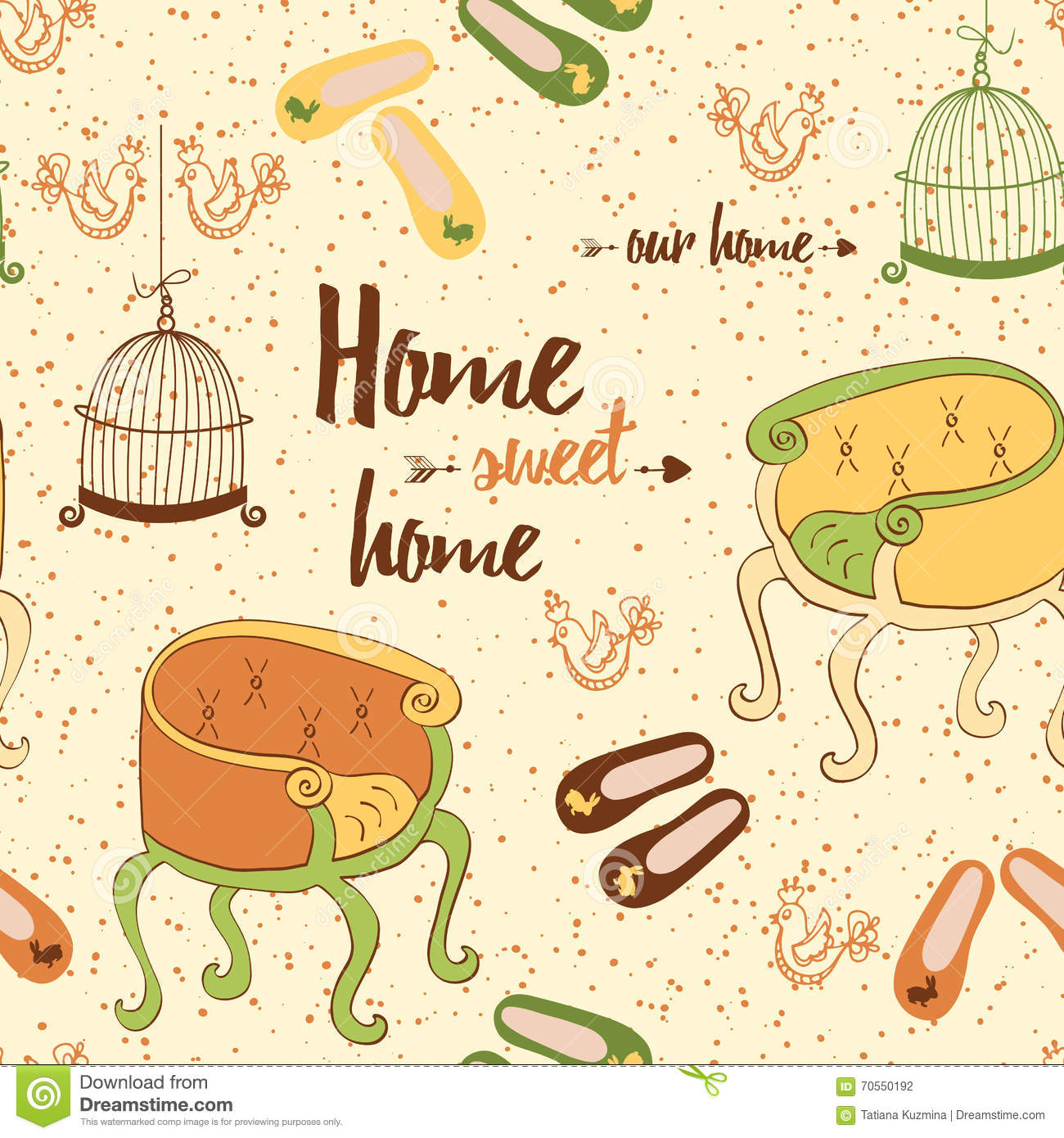 Seamless furniture pattern with cute colorful chairs, birds cage, home shoes and phrase  Home sweet home .
