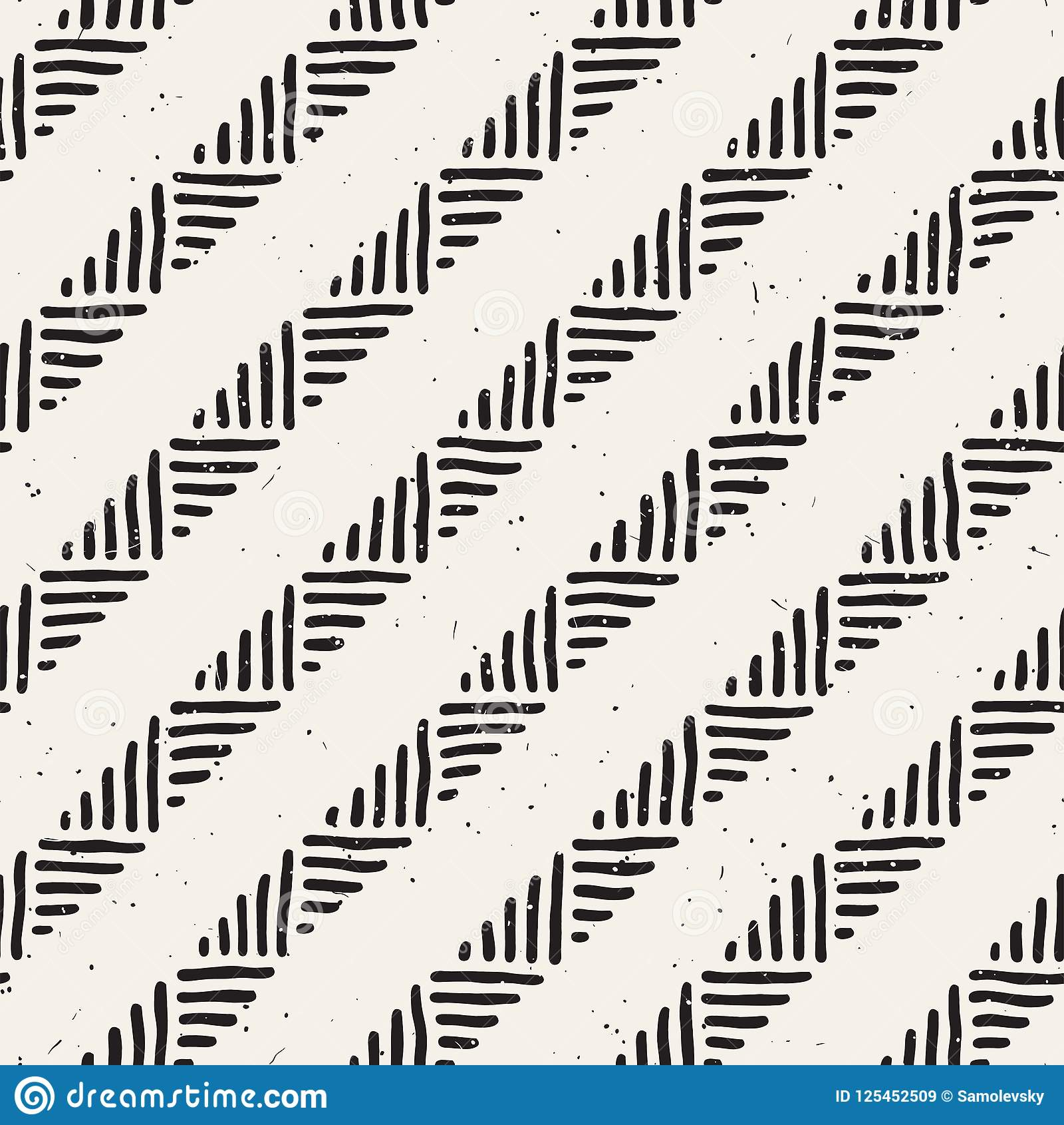 Seamless geometric doodle lines pattern in black and white. Adstract hand drawn retro texture.