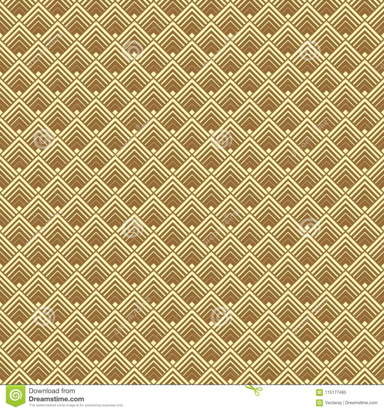 Seamless Geometric Gold Art Deco Pattern Background. Stock