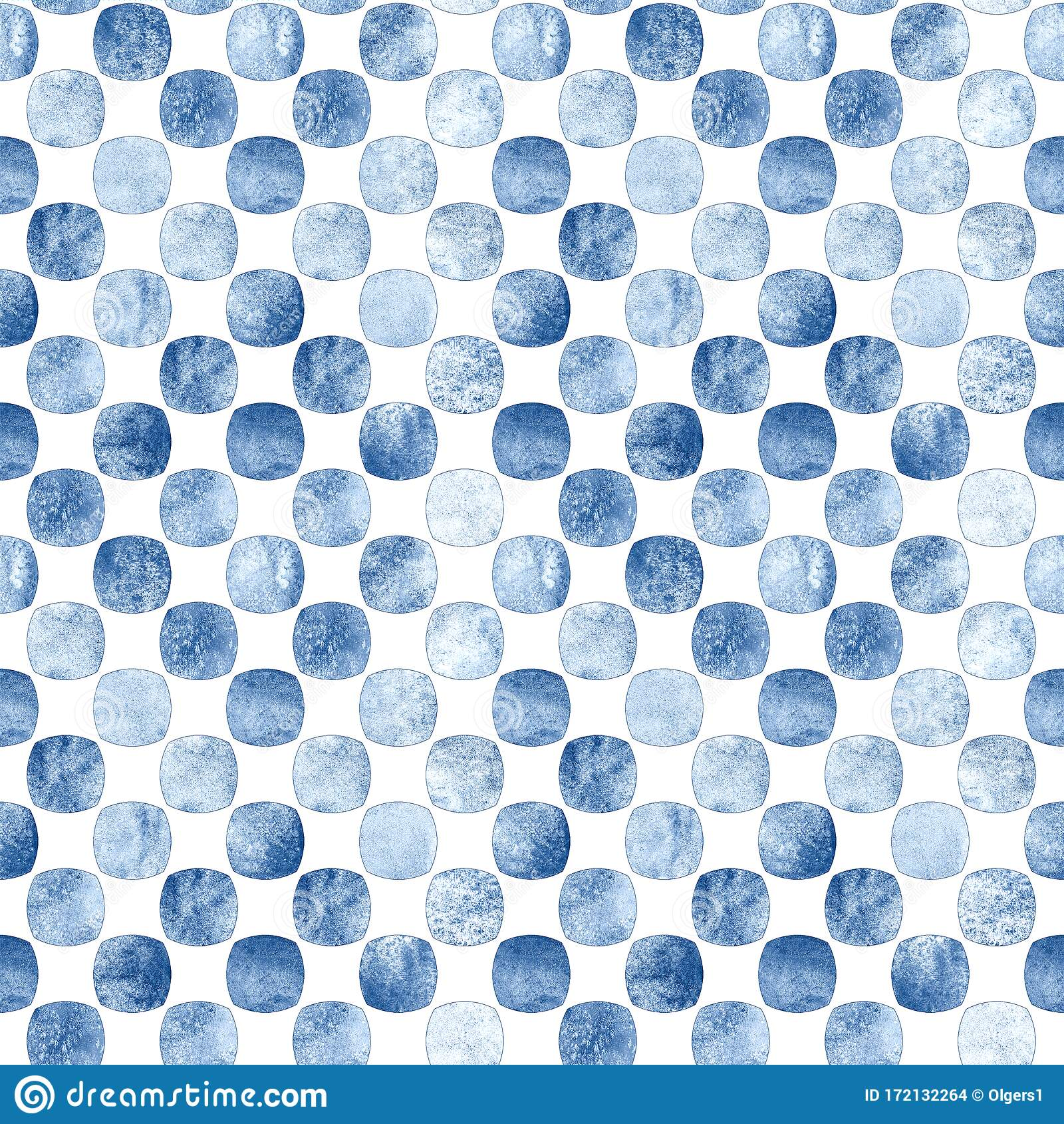 Seamless Geometric Pattern With Grunge Monochrome Blue