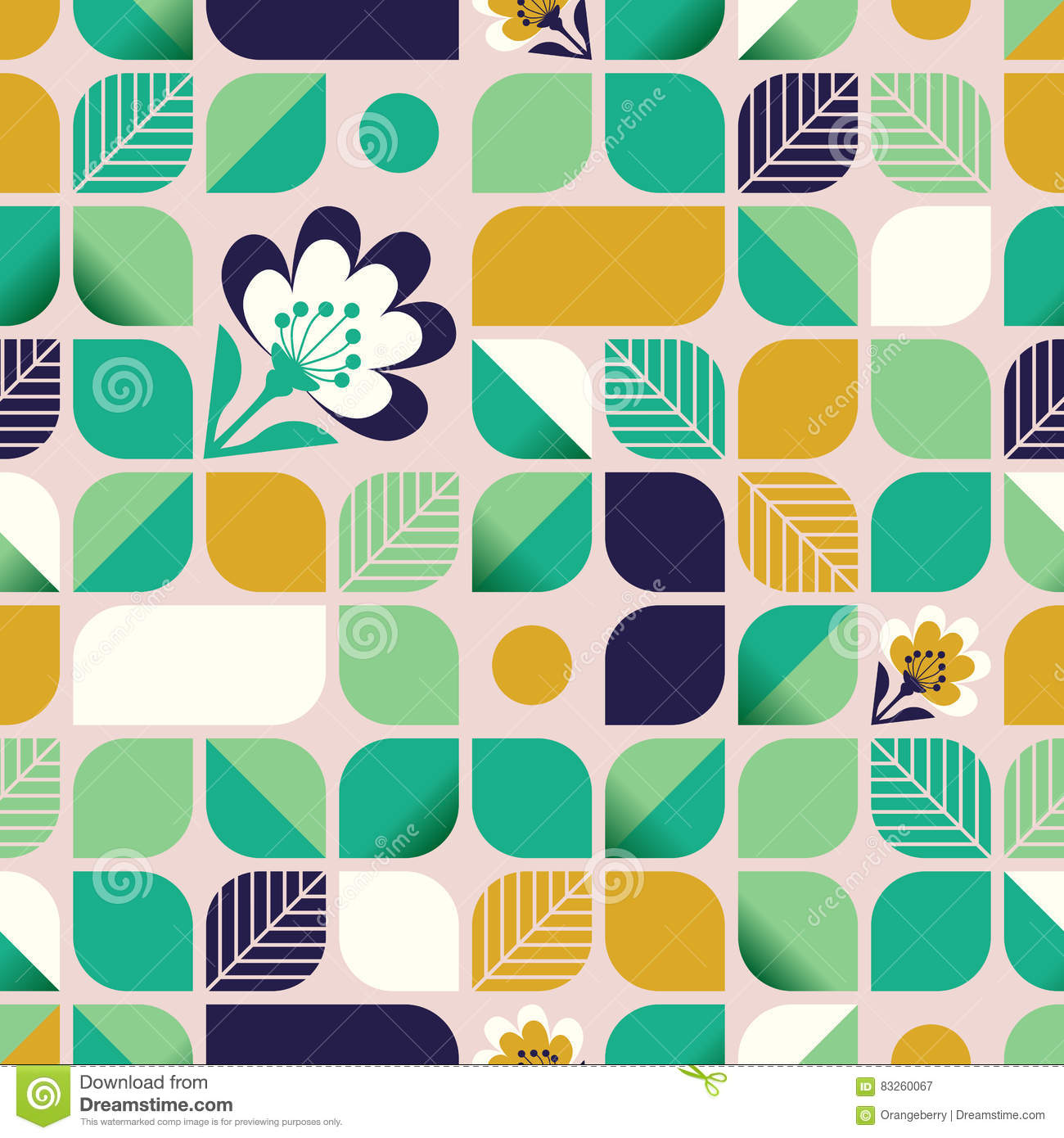 Seamless geometric pattern with leaves and flowers