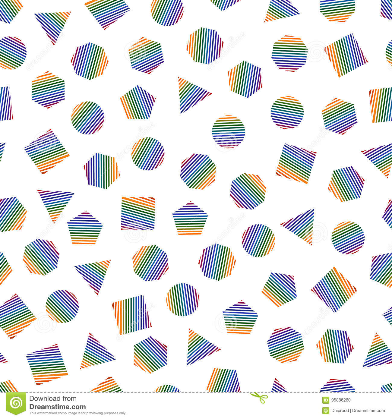 Seamless geometric pattern with multicolored geometric elements for tissue and postcards. Hipsters modern color background.