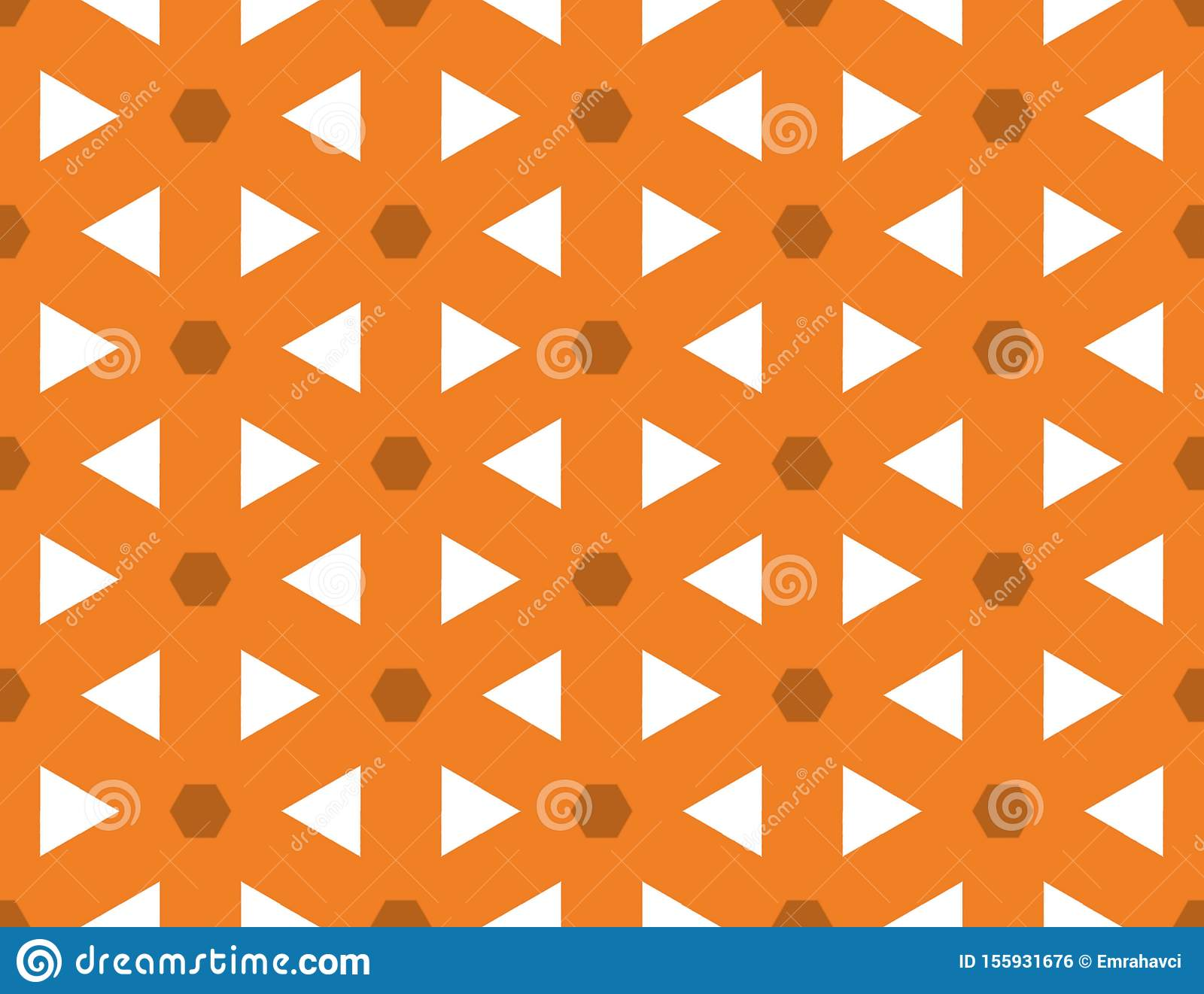 Seamless geometric pattern. Shaped brown hexagons and white triangle, orange background.