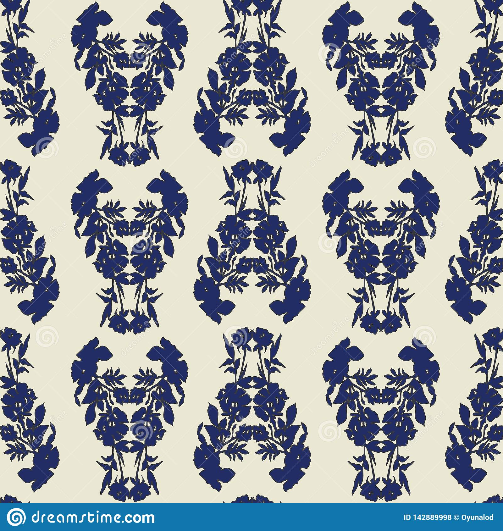 Seamless floral pattern with tulips, poppies and lilies. Complex vector print in blue, black and cream.