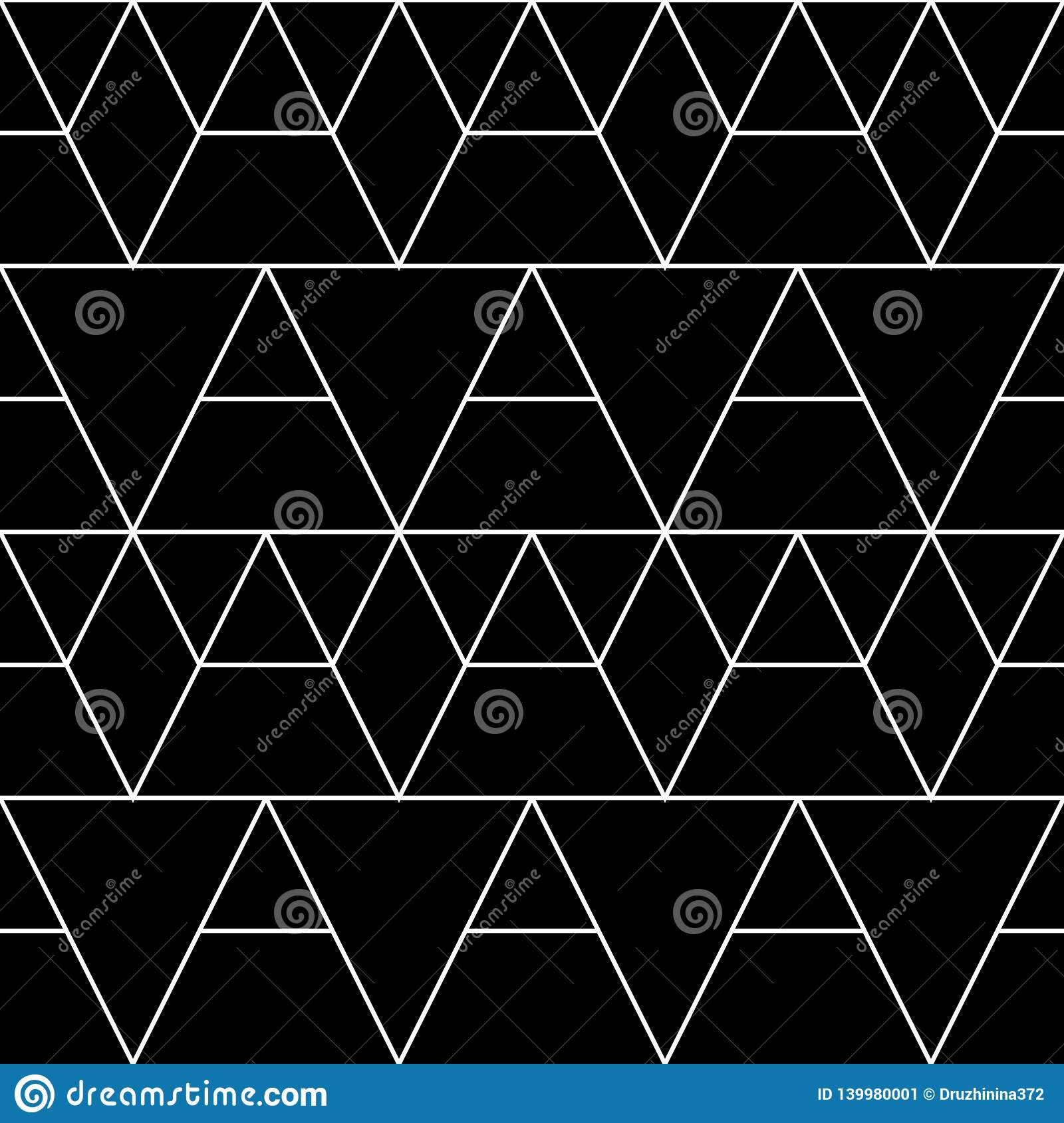 Seamless geometric pattern. Vector classical background in black and white color