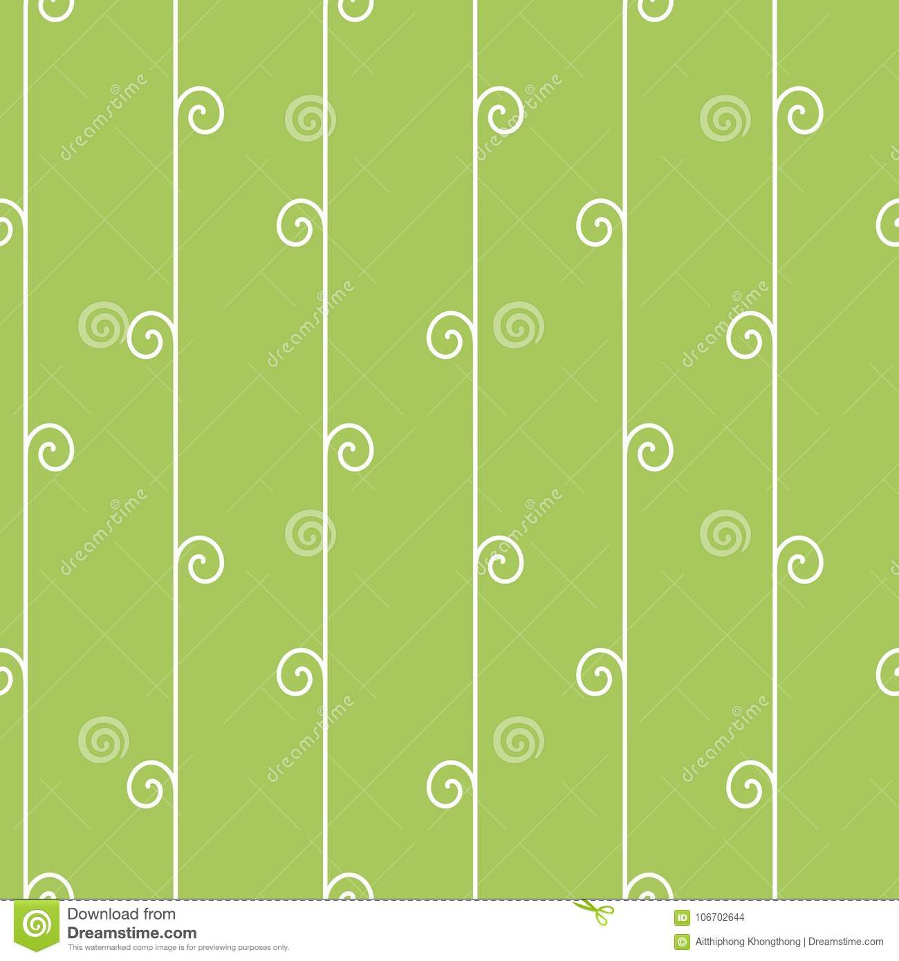 seamless geometric pattern vertical vine on green background