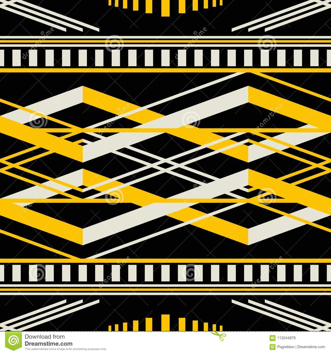 Download Seamless Geometric Retro Pattern In Black Yellow Dusty White C Stock Vector