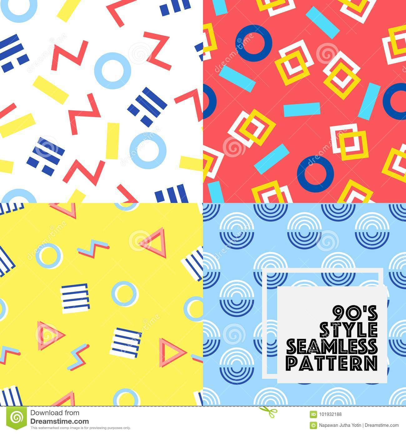 Seamless Geometry Vector Pattern 80-90S Style Collection Set  Stock