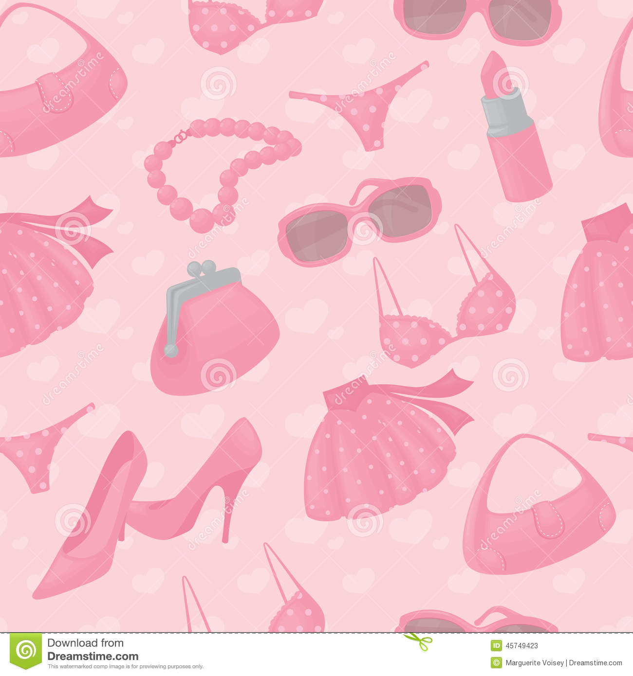 download seamless girly accessories background stock vector illustration of polkadot cosmetics 45749423