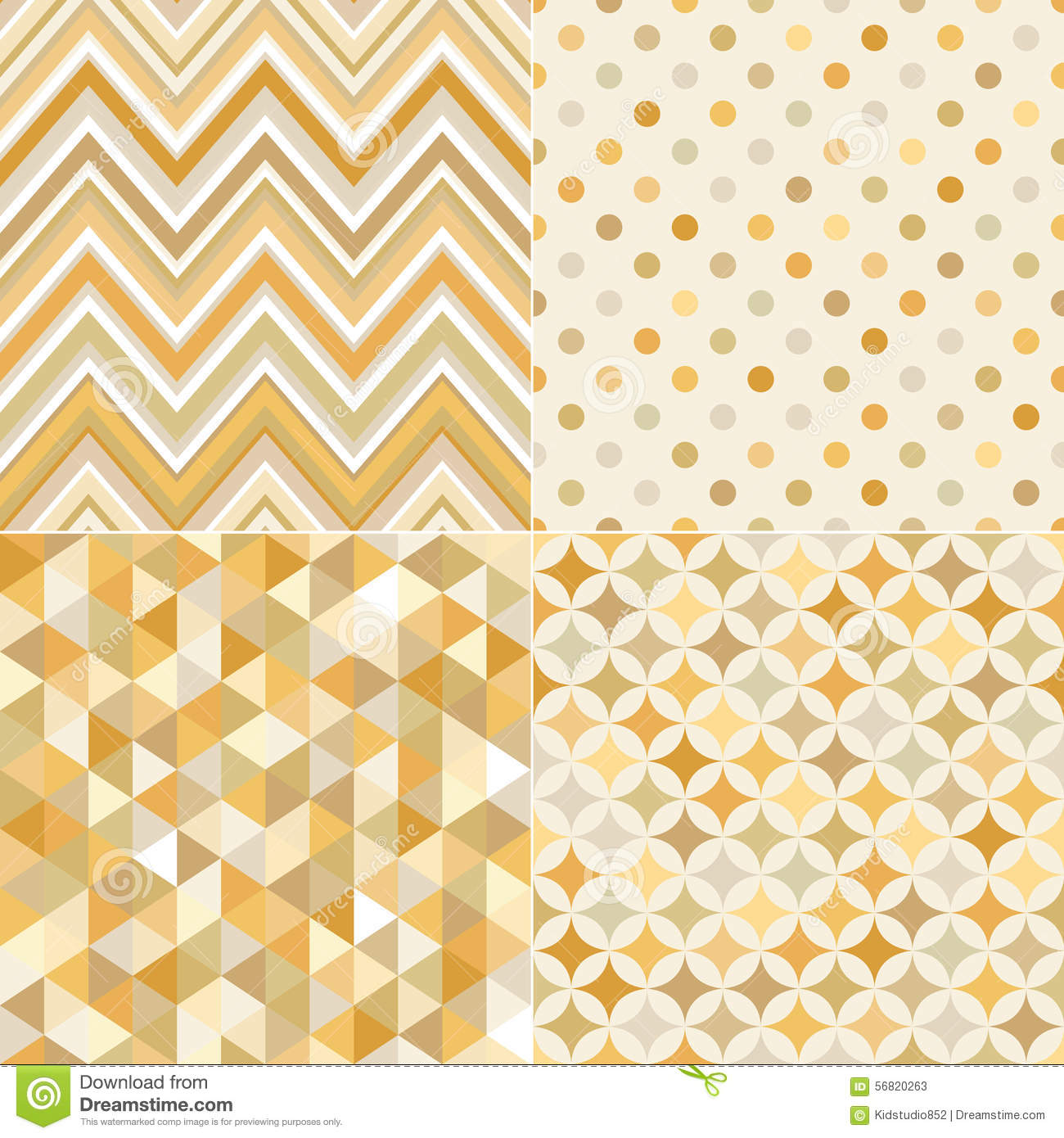Seamless Gold Geometric Tiles Pattern Stock Vector Image