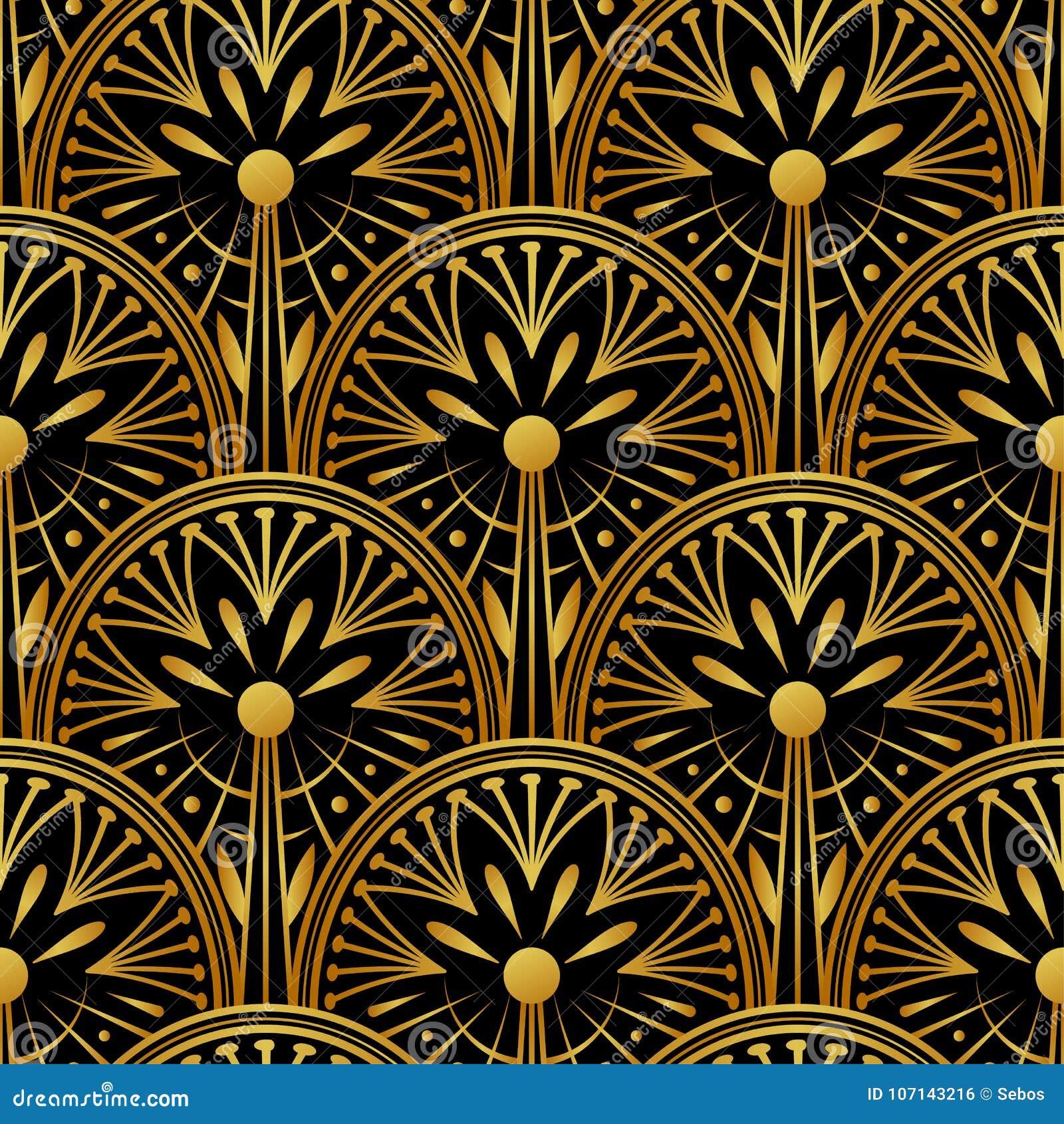 Golden 20ies Art Deco Muster Fur Tapeten 1