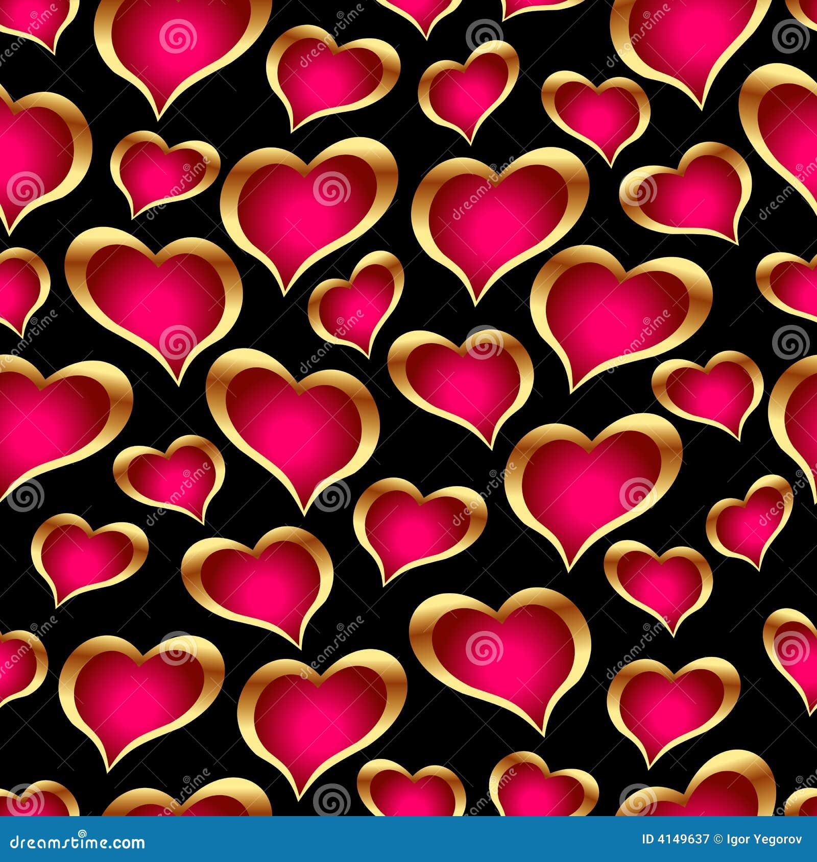 Seamless golden hearts