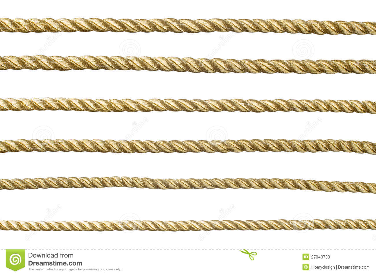 Golden rope isolated on white background for continuous replicate