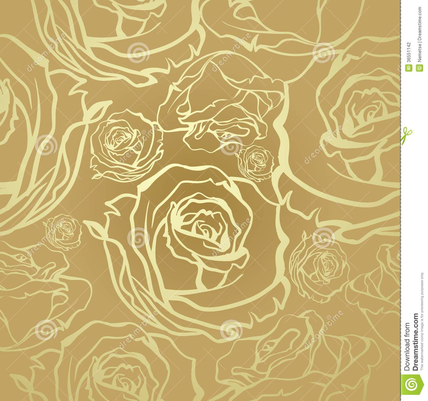Seamless Golden Roses Stock Photography - Image: 36551142