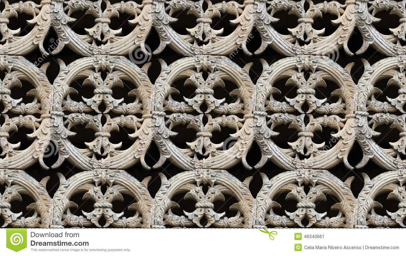 Seamless Gothic Architecture Pattern Detail Stock Image