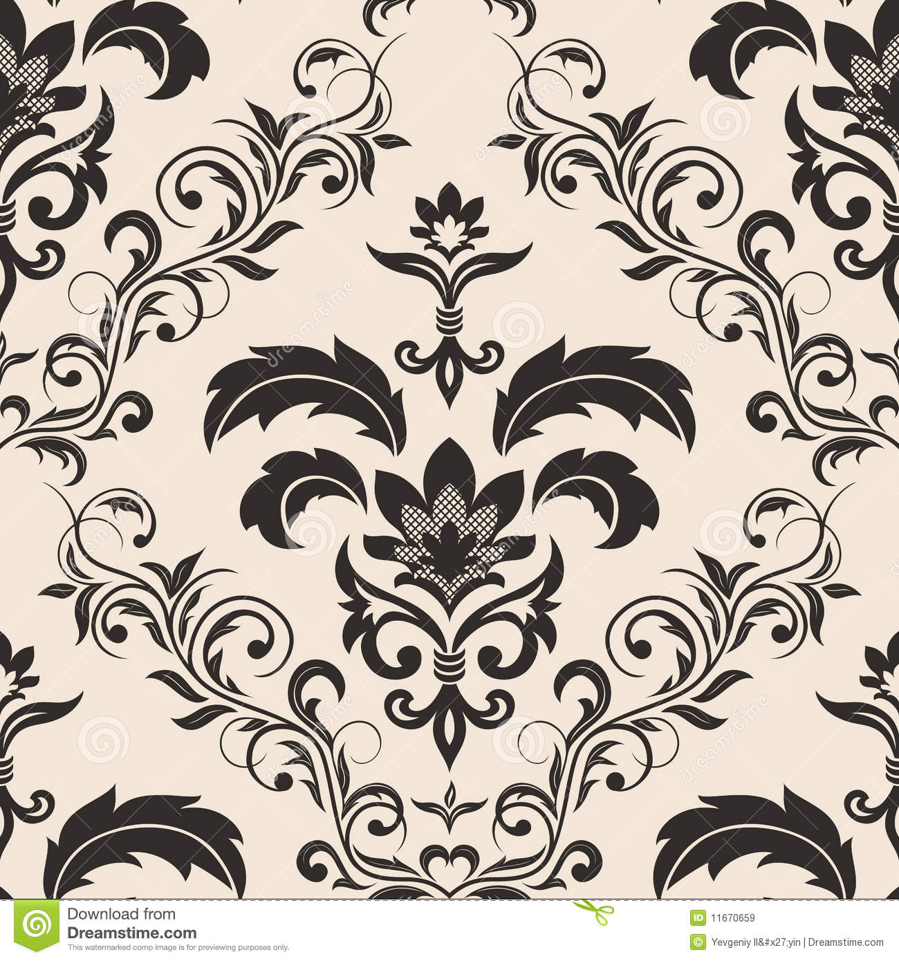seamless gothic floral wallpaper stock vector