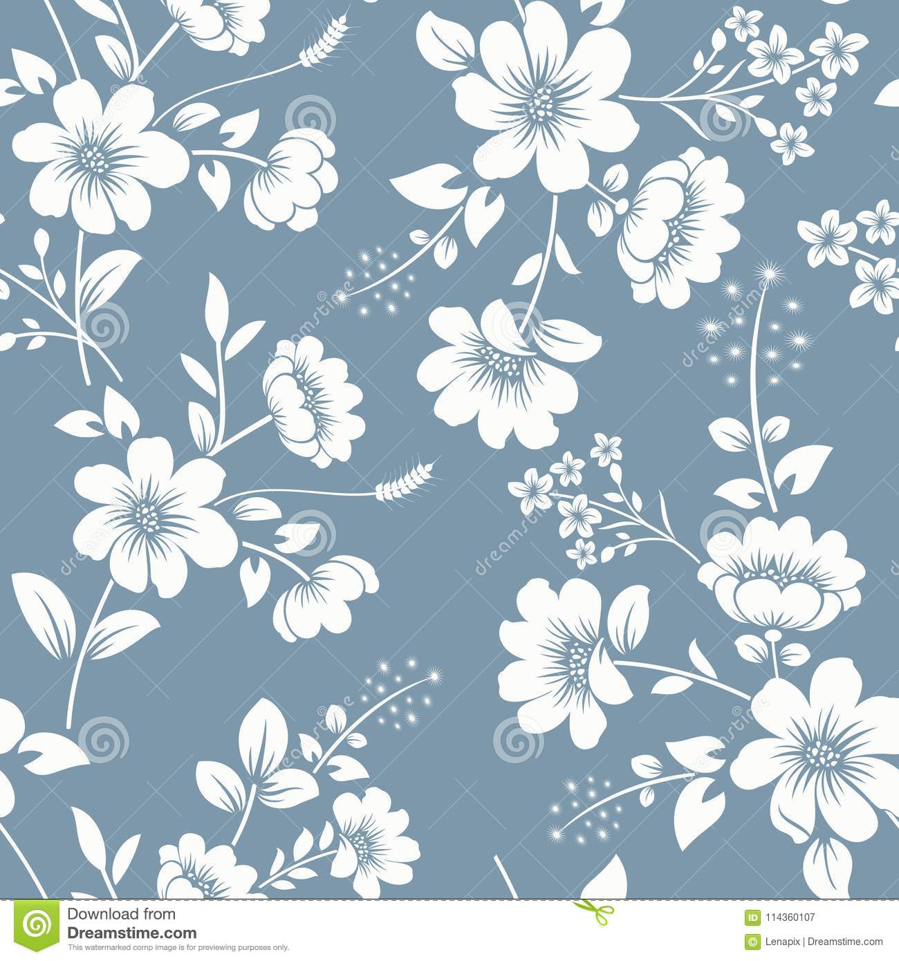 Seamless Gray Blue And White Floral Background Stock Vector