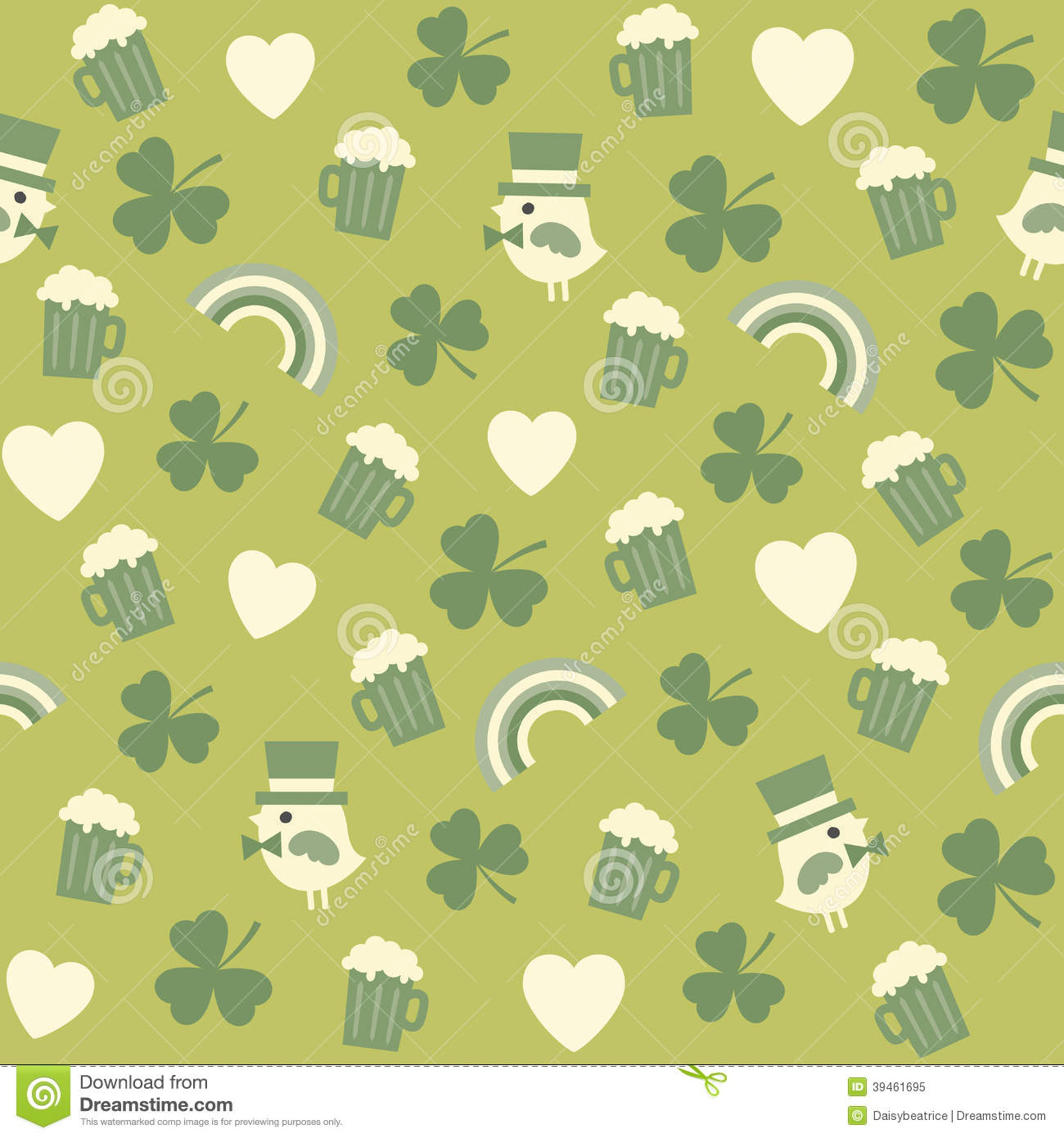 Seamless Green Background Pattern For St Patricks Stock Vector