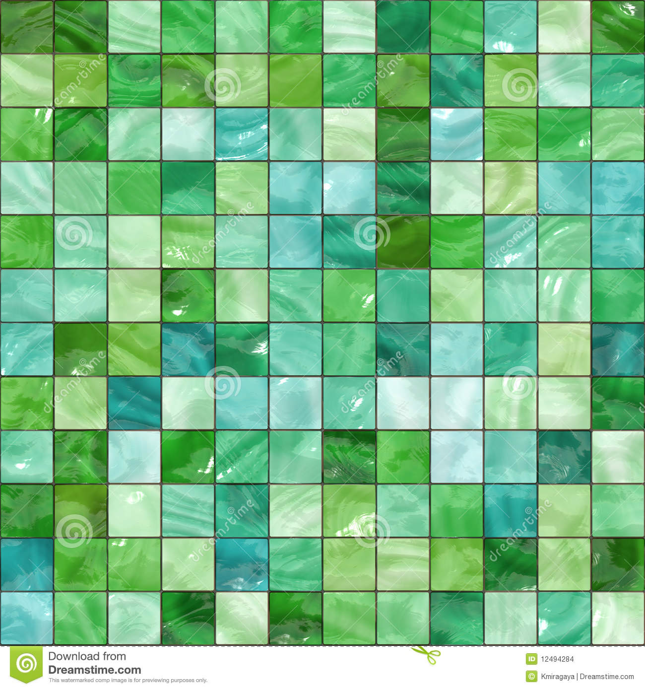 Seamless Green Tiles Texture Stock Illustration