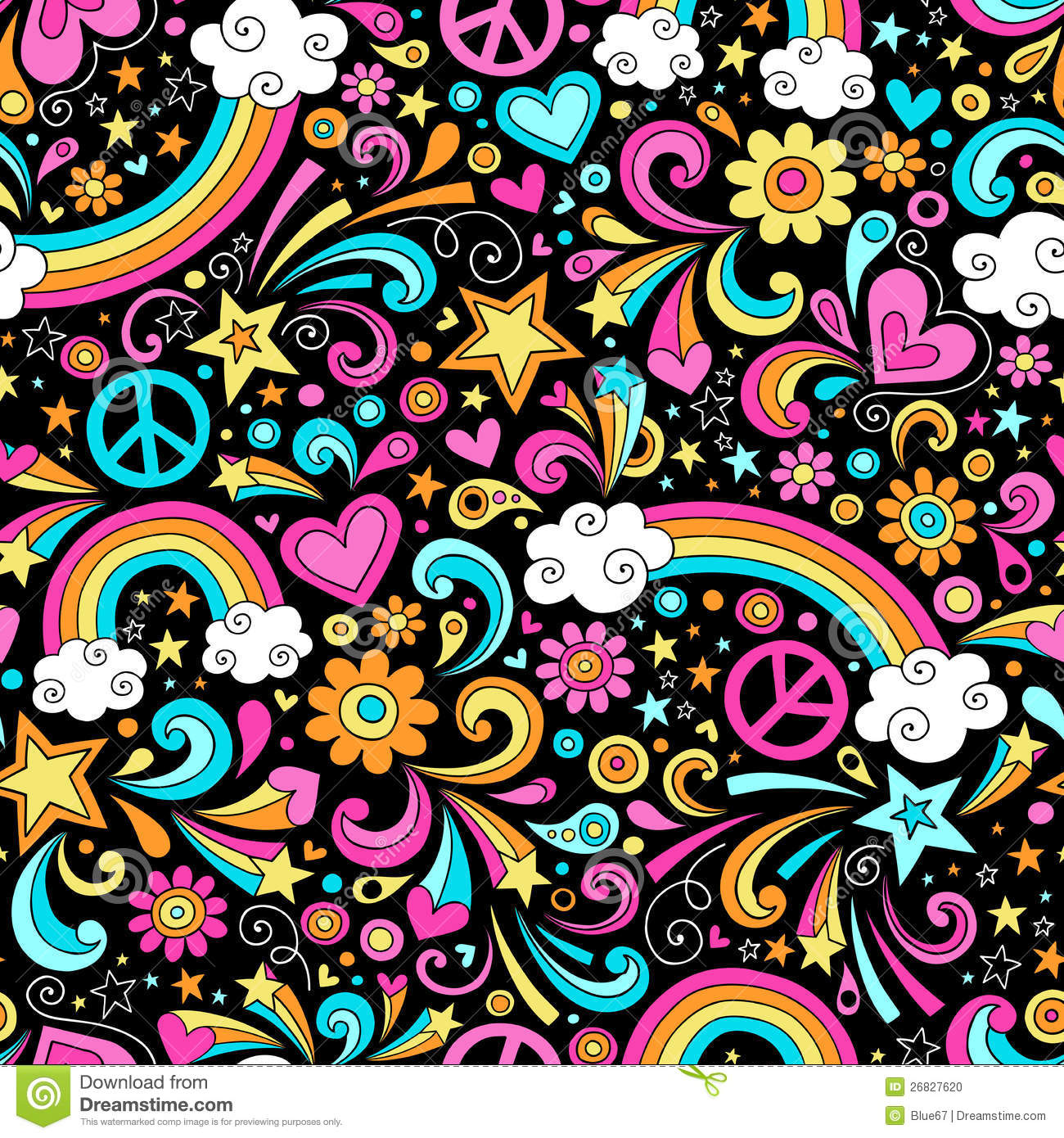 Seamless Groovy Rainbow Peace and Love Pattern Vec