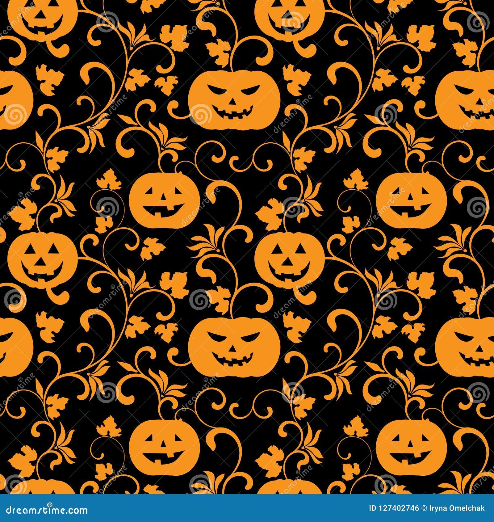 Halloween Pattern Wallpaper.Seamless Halloween Pattern With Pumpkins On A Black Background Stock Vector Illustration Of Orange Dark 127402746