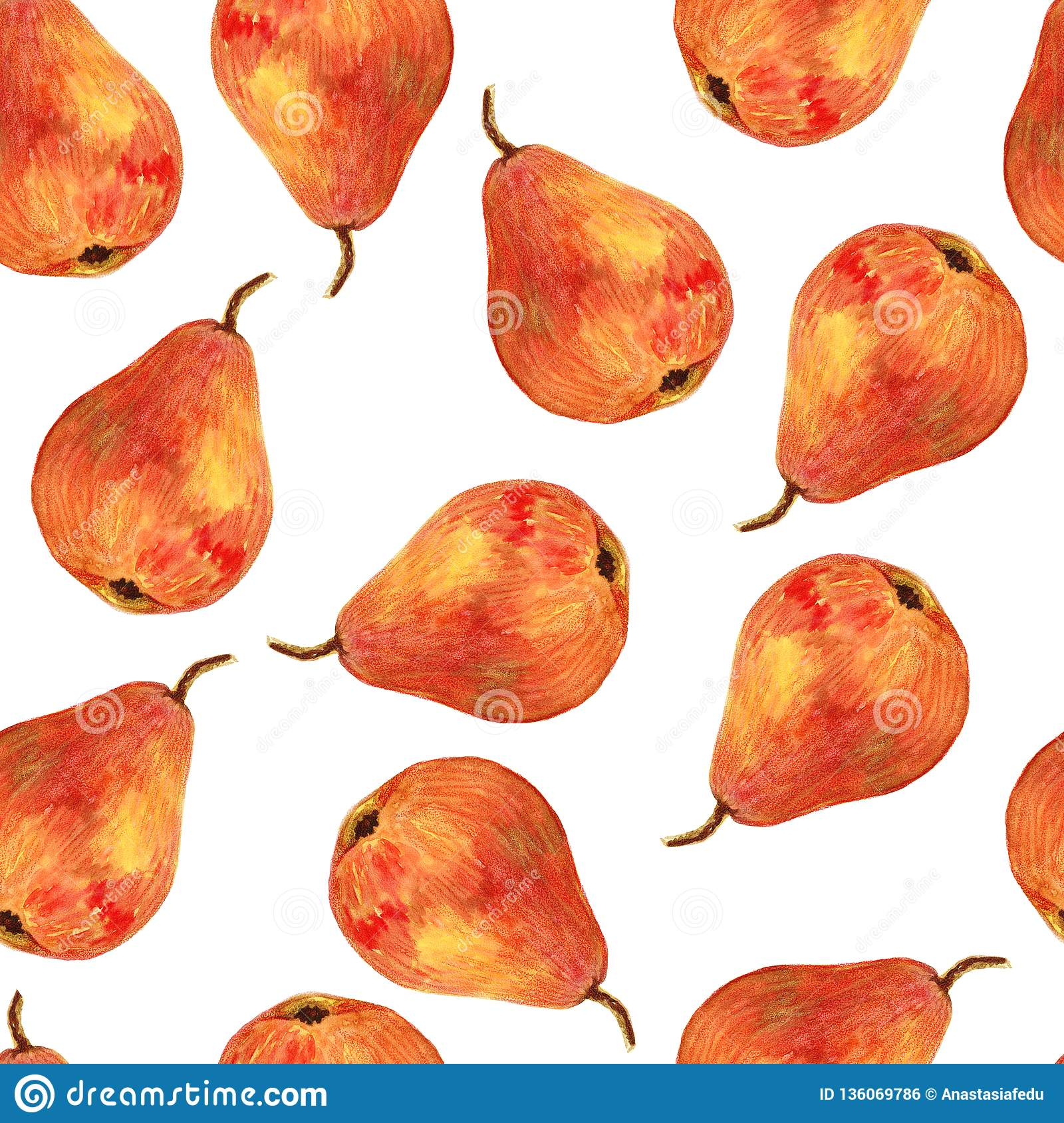 Seamless hand drawing background with watercolor pears.