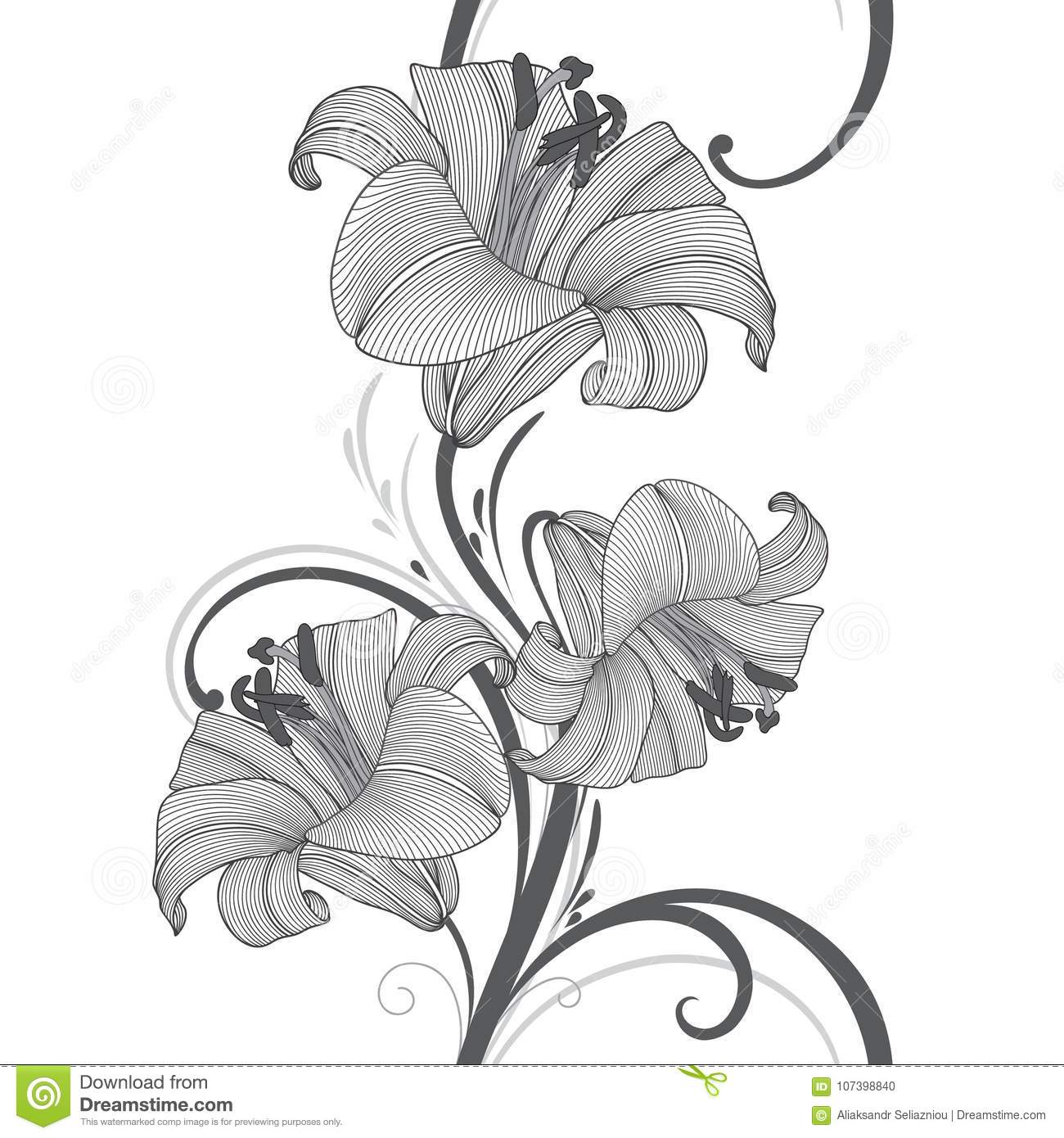 Seamless Hand Drawing Floral Background With Flower Lily Vector