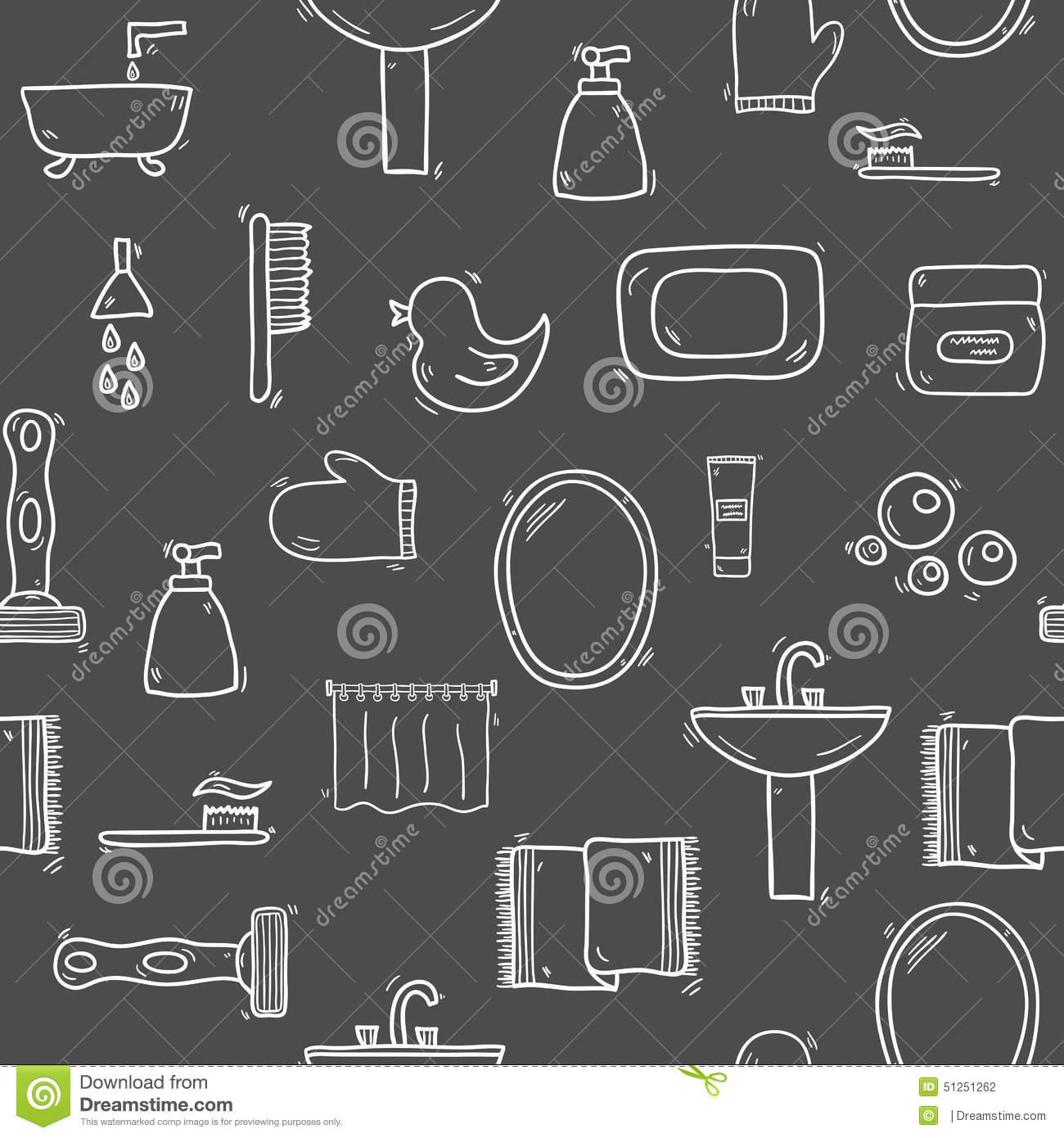 Seamless Hand Drawn Bathroom Background Stock Vector