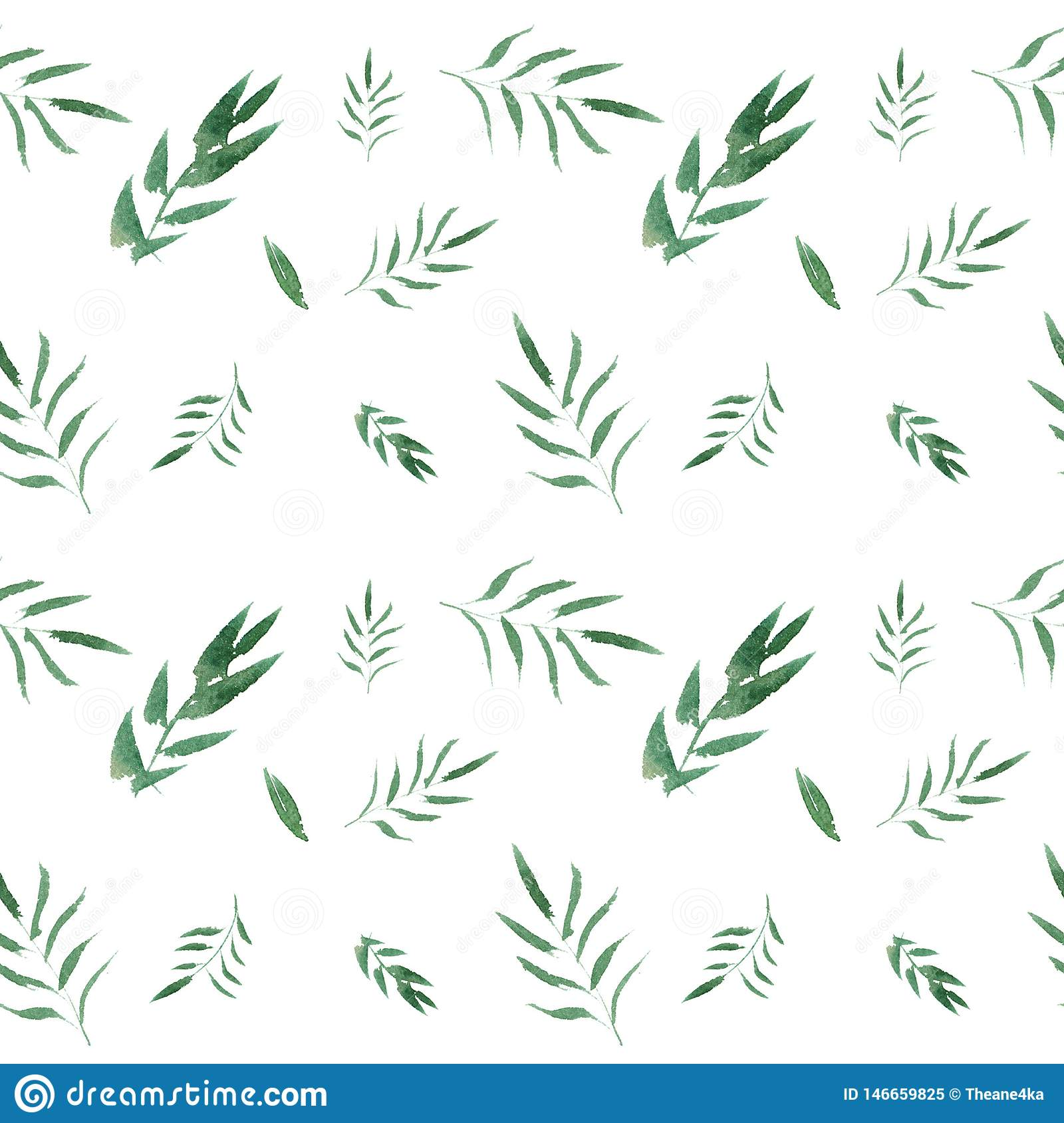 Seamless watercolor floral pattern with green leaves