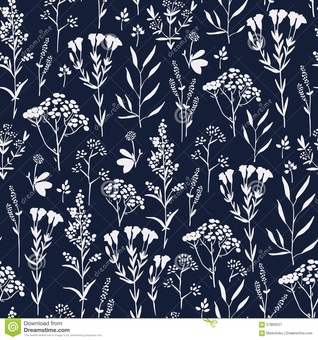seamless hand drawn floral pattern with herbs stock vector