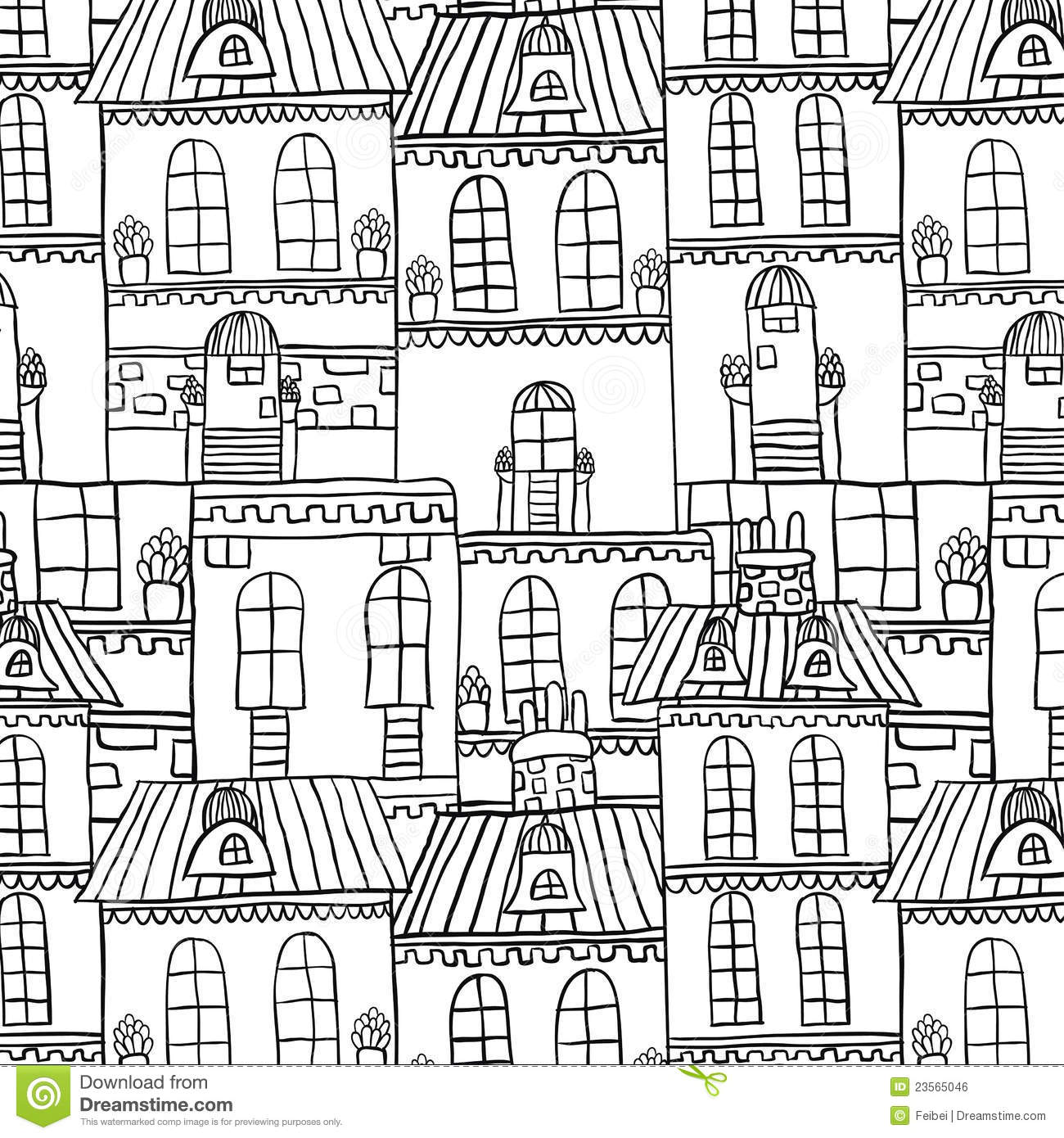 Seamless Hand Drawn House Pattern Stock Vector