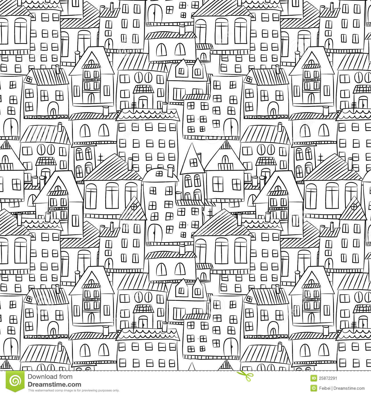 Seamless Hand Drawn House Pattern Stock Image Image