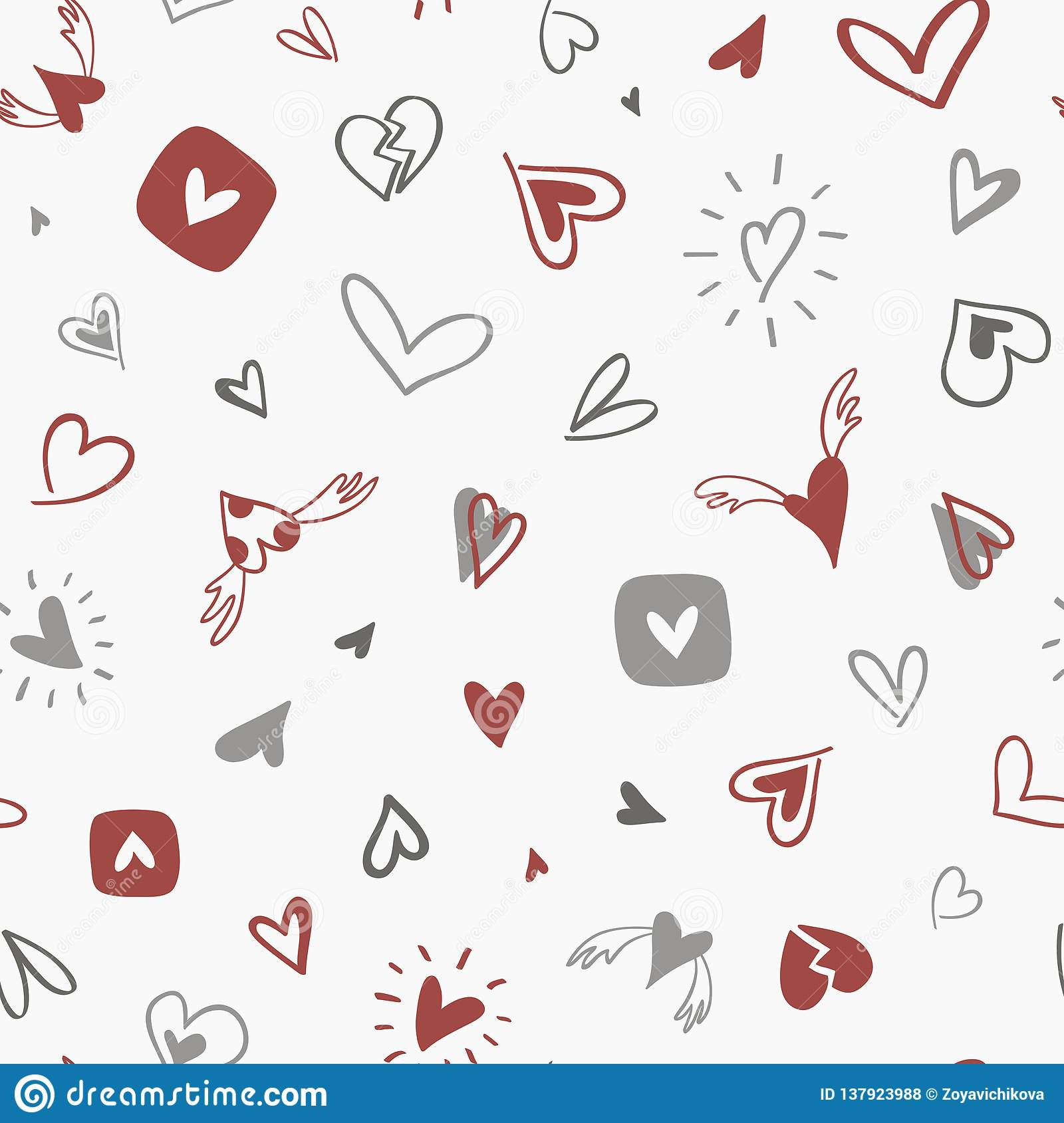 Seamless hand drawn pattern with gray-red hearts