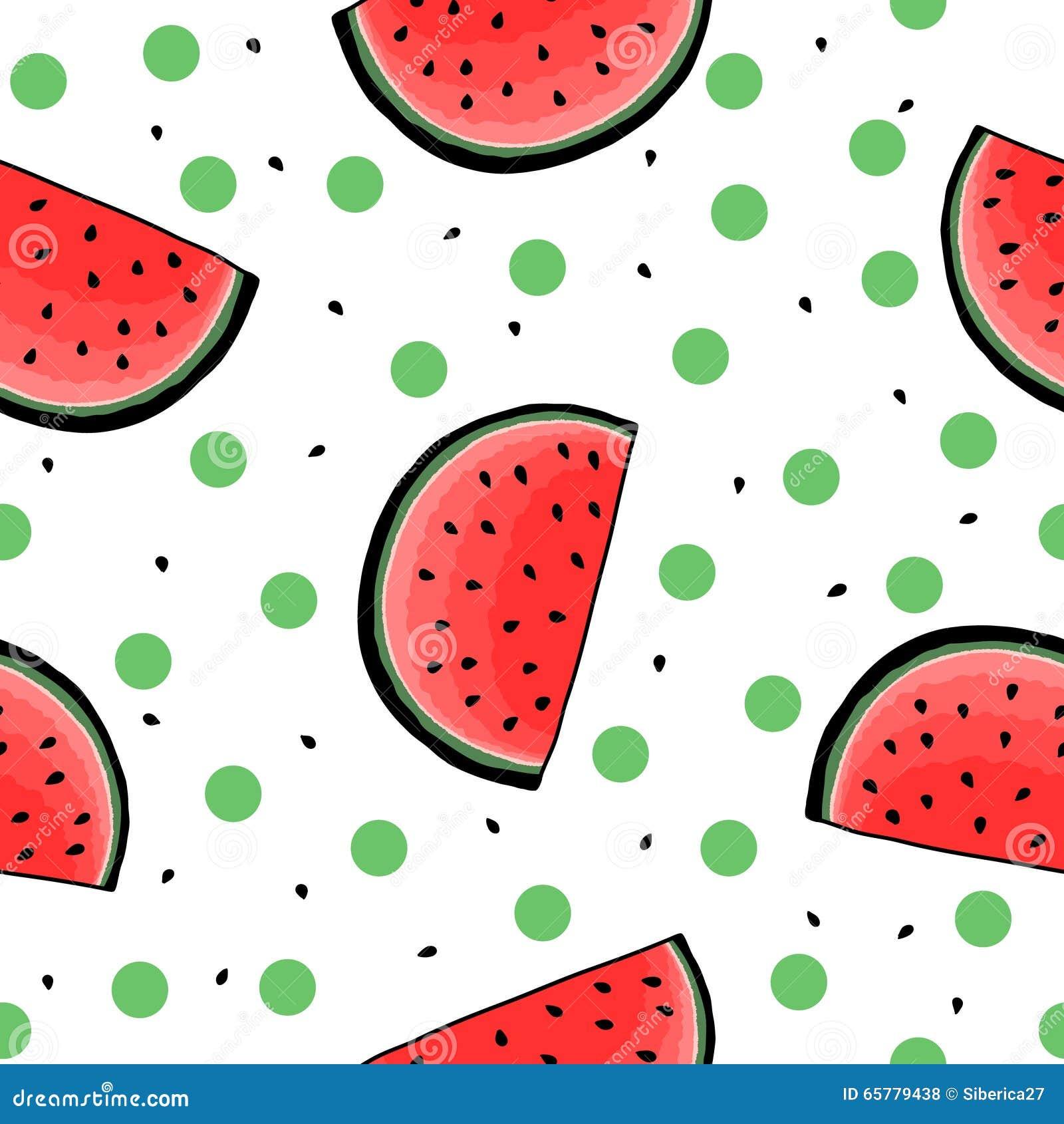 Seamless Hand Drawn Watermelon Pattern Stock Vector ...