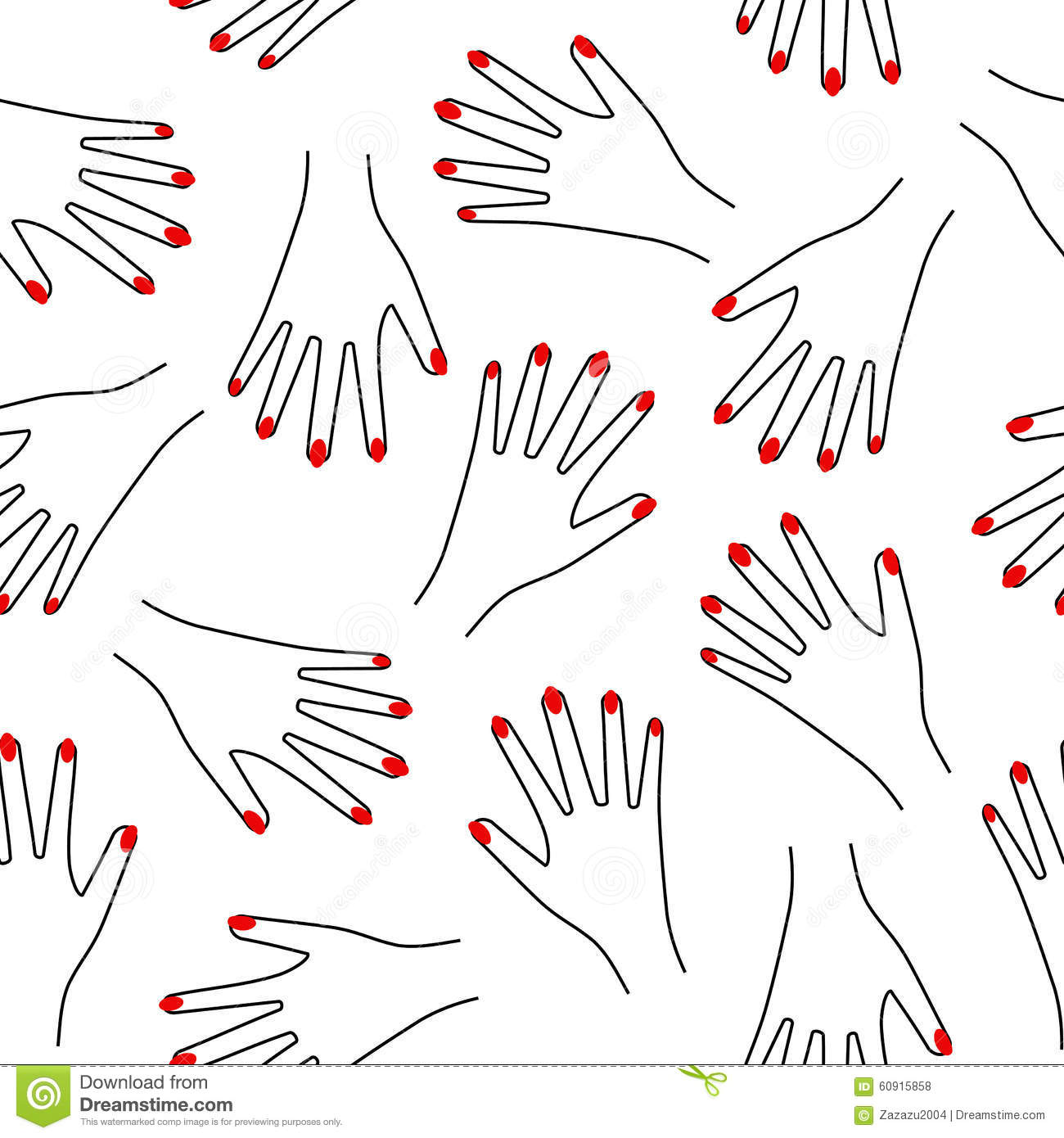 Seamless hand pattern on white background. Cute funny girlish illustration with red nails.