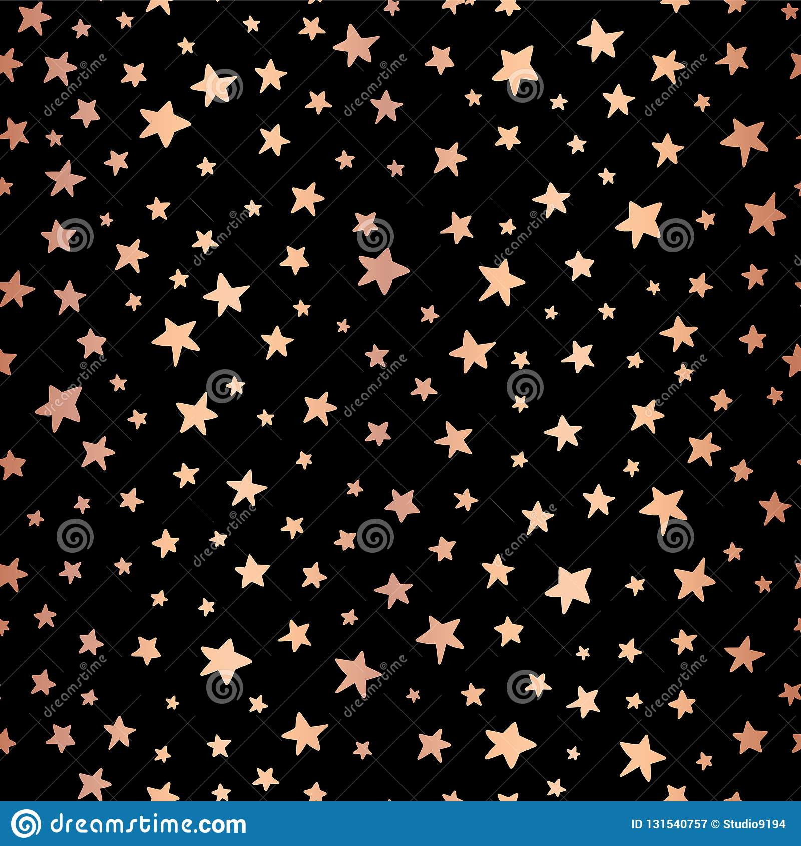 Seamless Handdrawn Stars Copper Foil On Black Vector