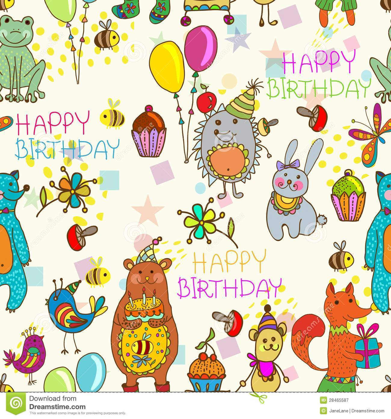 Seamless Happy Birthday Cartoon Background Stock Vector