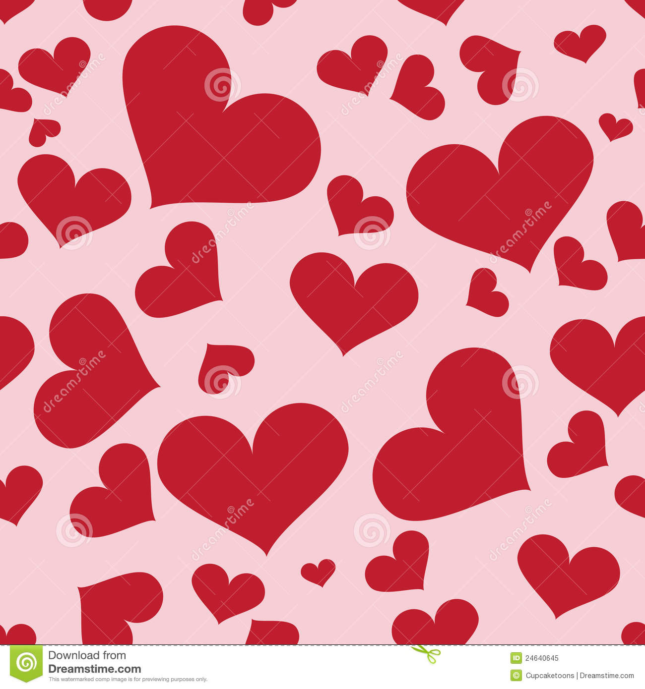 Seamless pattern of many hearts on pink background