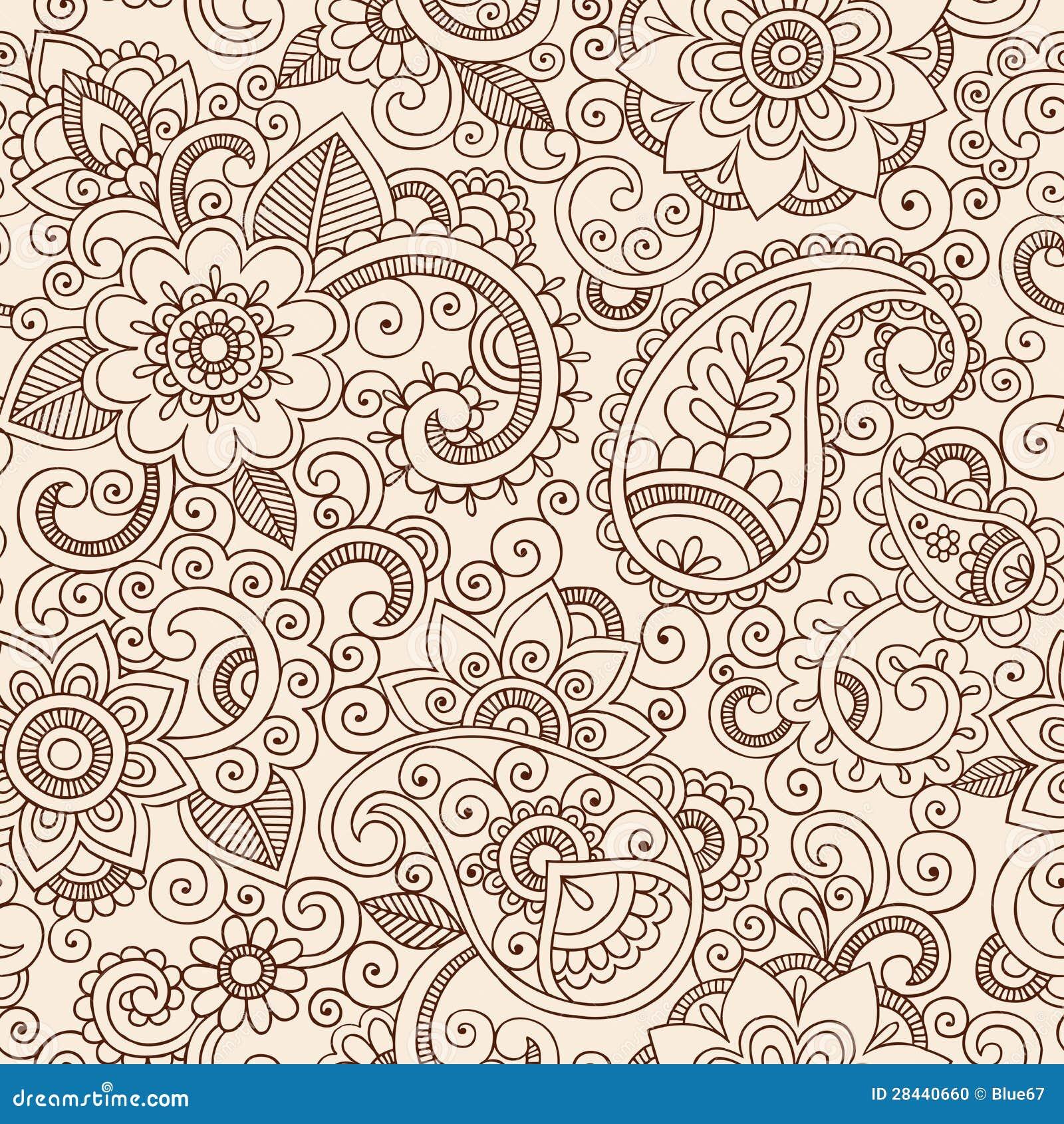 Seamless Henna Paisley Flowers Pattern Vector Illu