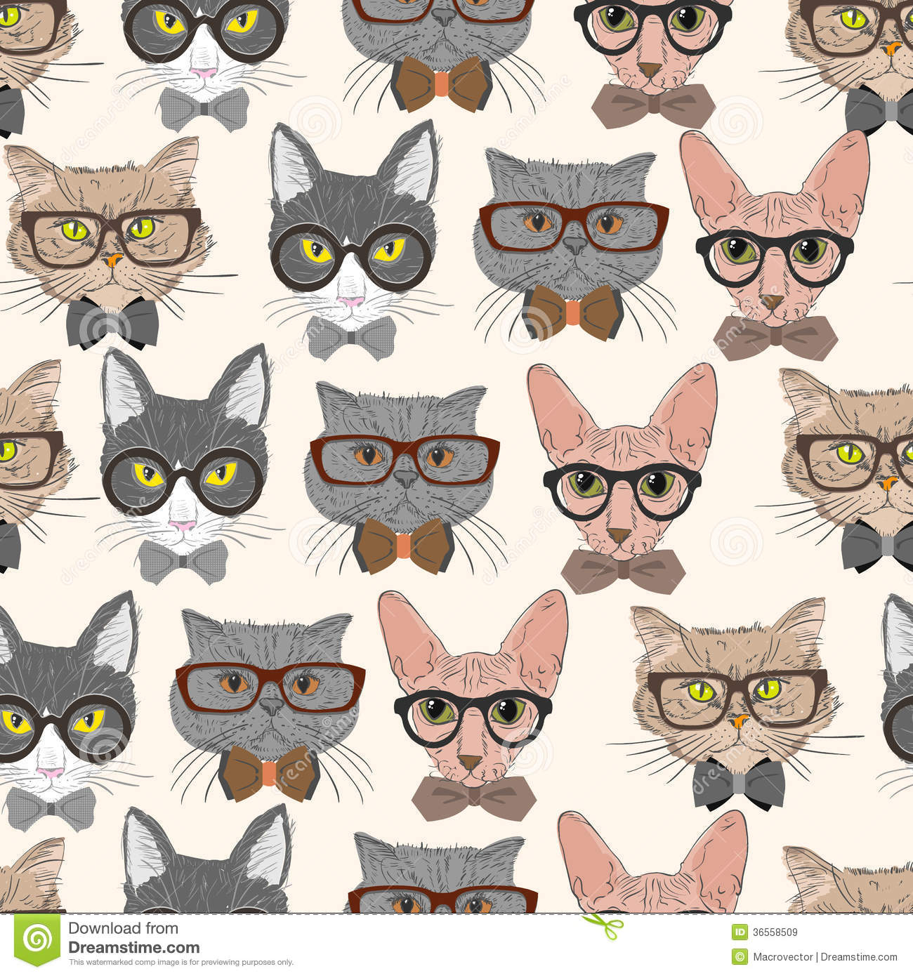 Seamless hipster cats pattern background