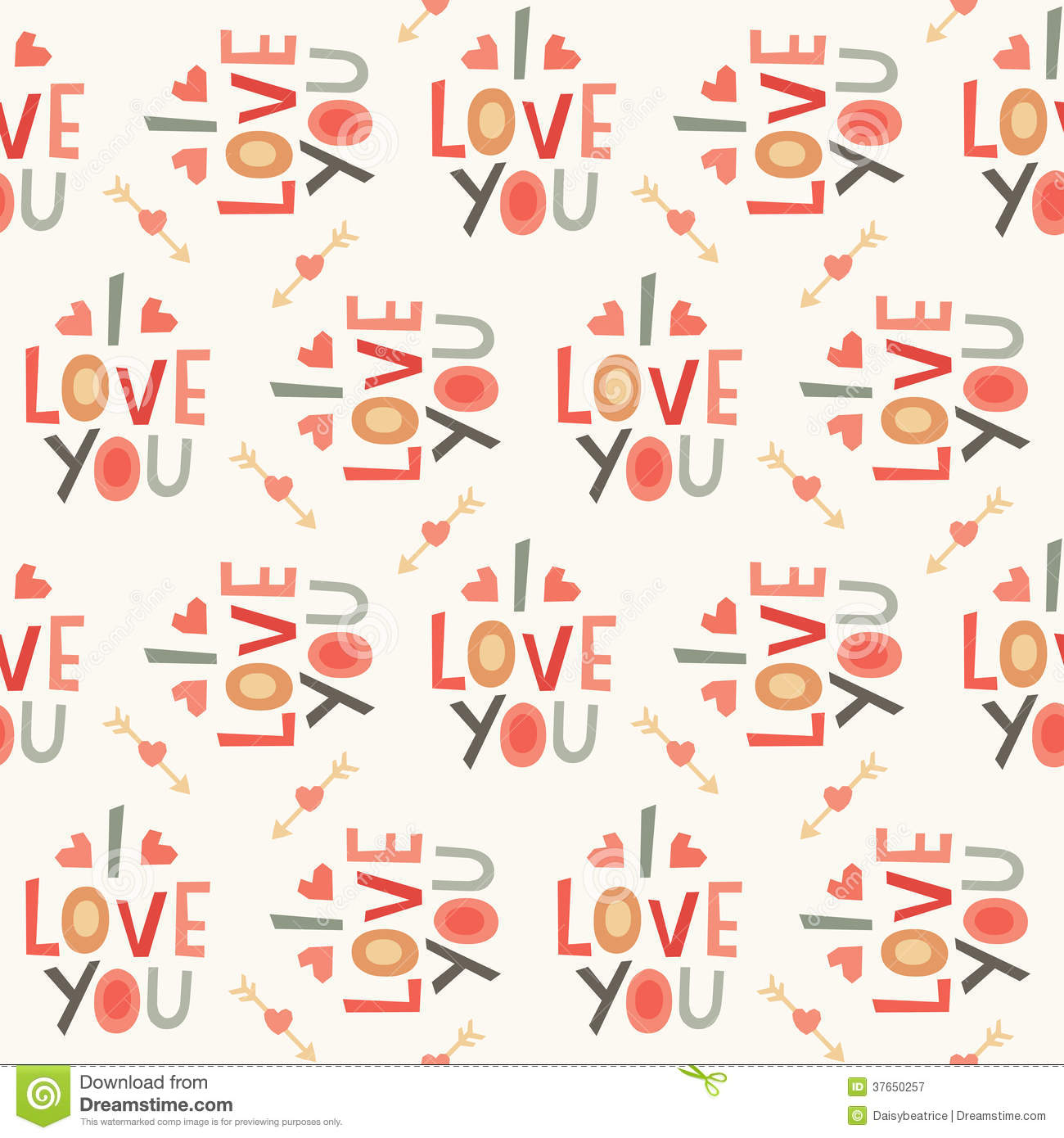Seamless hipster love pattern in cream and red